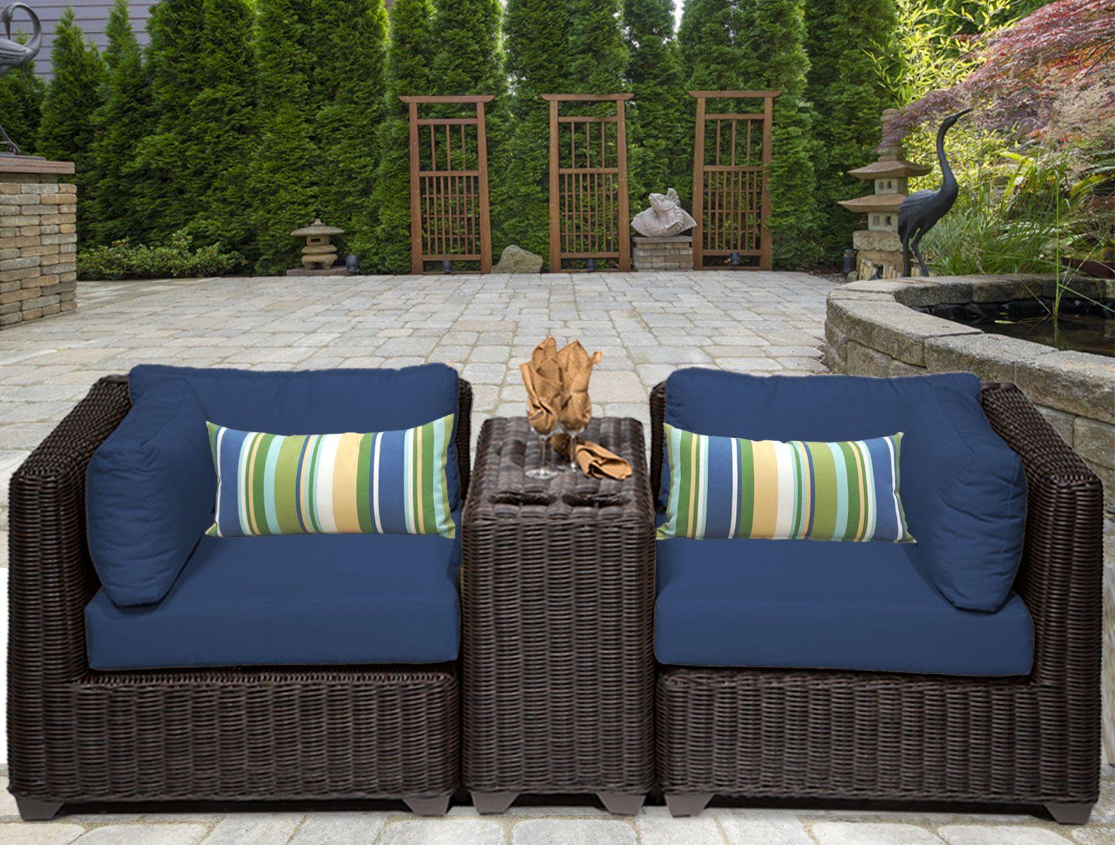 Eldredge 3 Piece Conversation Set with Cushions Color: Navy