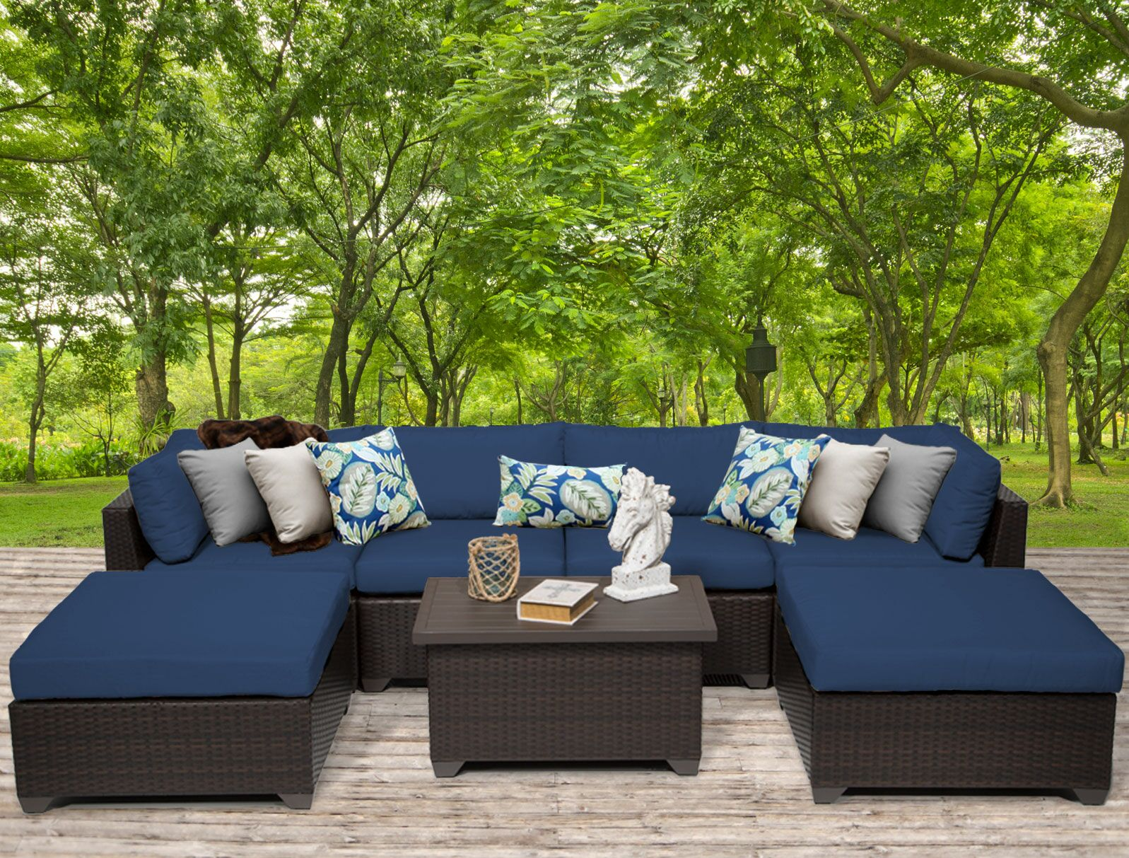 Belle 7 Piece Sectional Set with Cushions Fabric: Navy