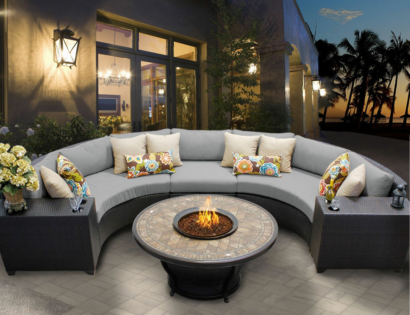 Barbados 6 Rattan Sectional Set with Cushions Fabric: Gray