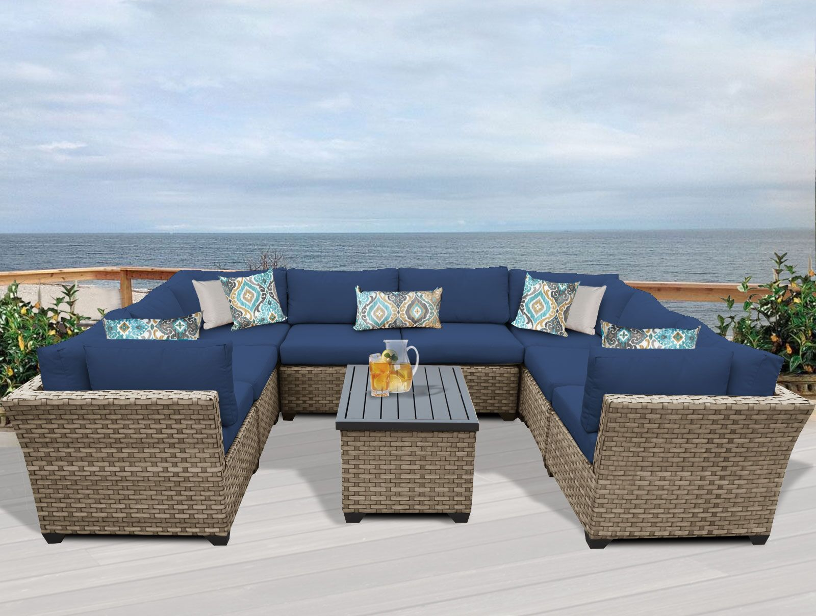 Monterey 9 Piece Sectional Set with Cushions Fabric: Navy