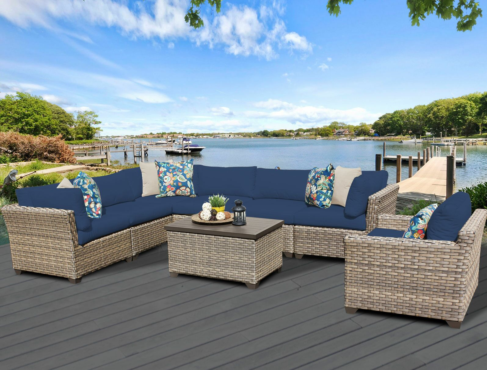 Monterey 8 Piece Sectional Set with Cushions Fabric: Navy
