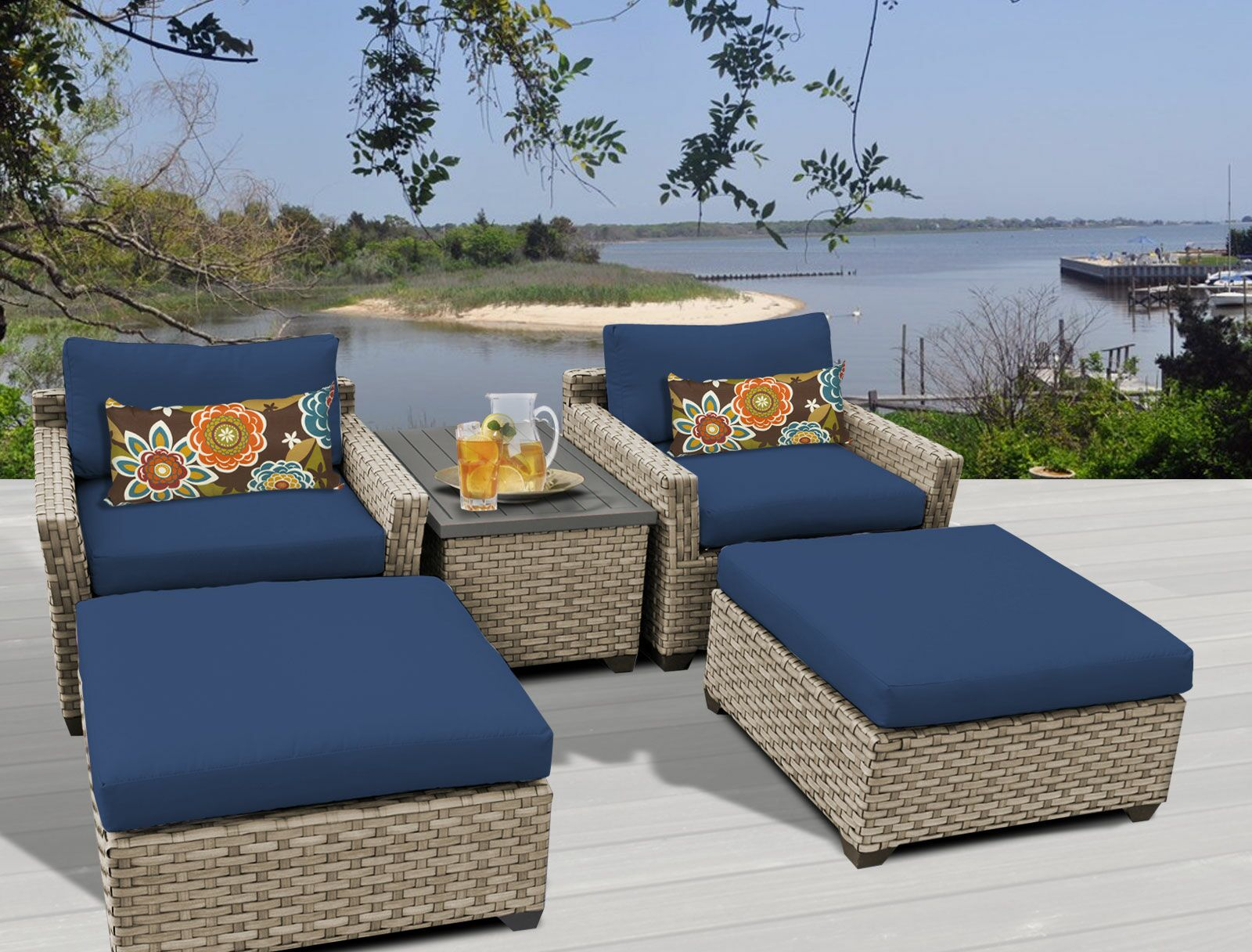 Monterey 5 Piece Conversation Set with Cushions Fabric: Navy