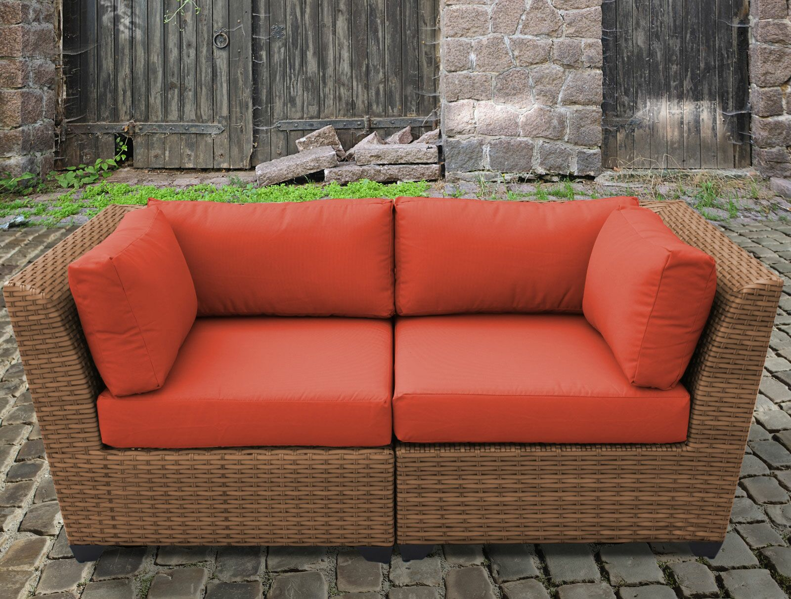 East Village Loveseat with Cushion Color: Tangerine