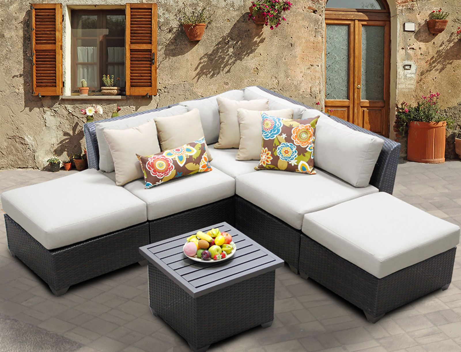 Barbados 6 Piece Rattan Sectional Set with Cushions Color: Beige