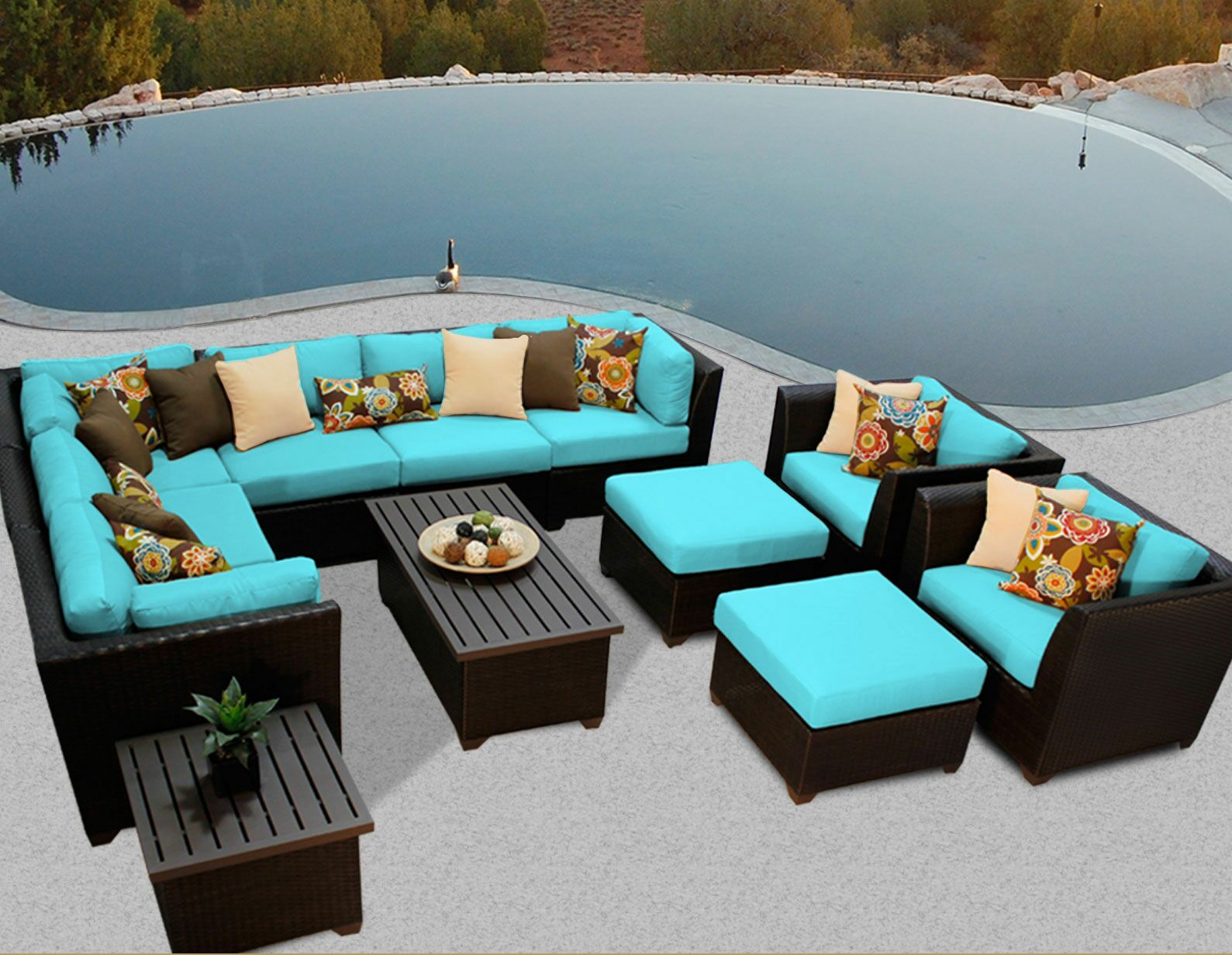 Barbados 12 Piece Rattan Sectional Set with Cushions Color: Aruba