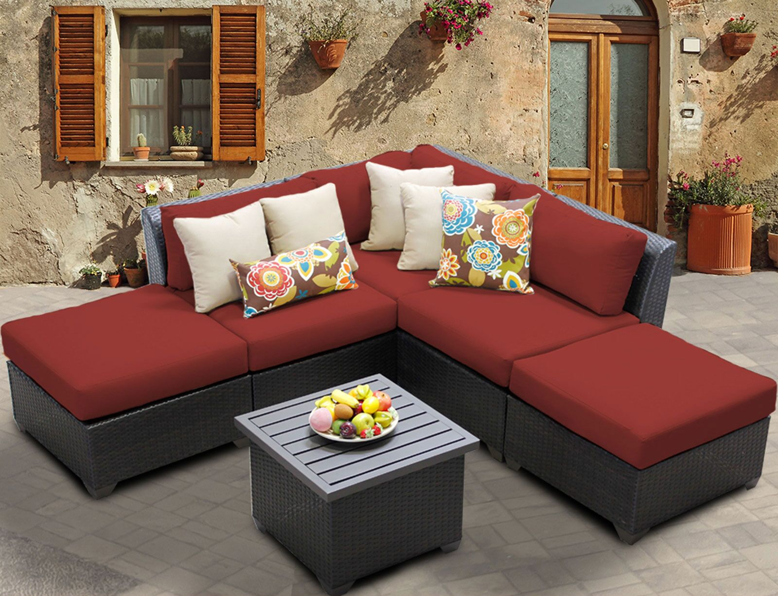 Barbados 6 Piece Rattan Sectional Set with Cushions Color: Terracotta