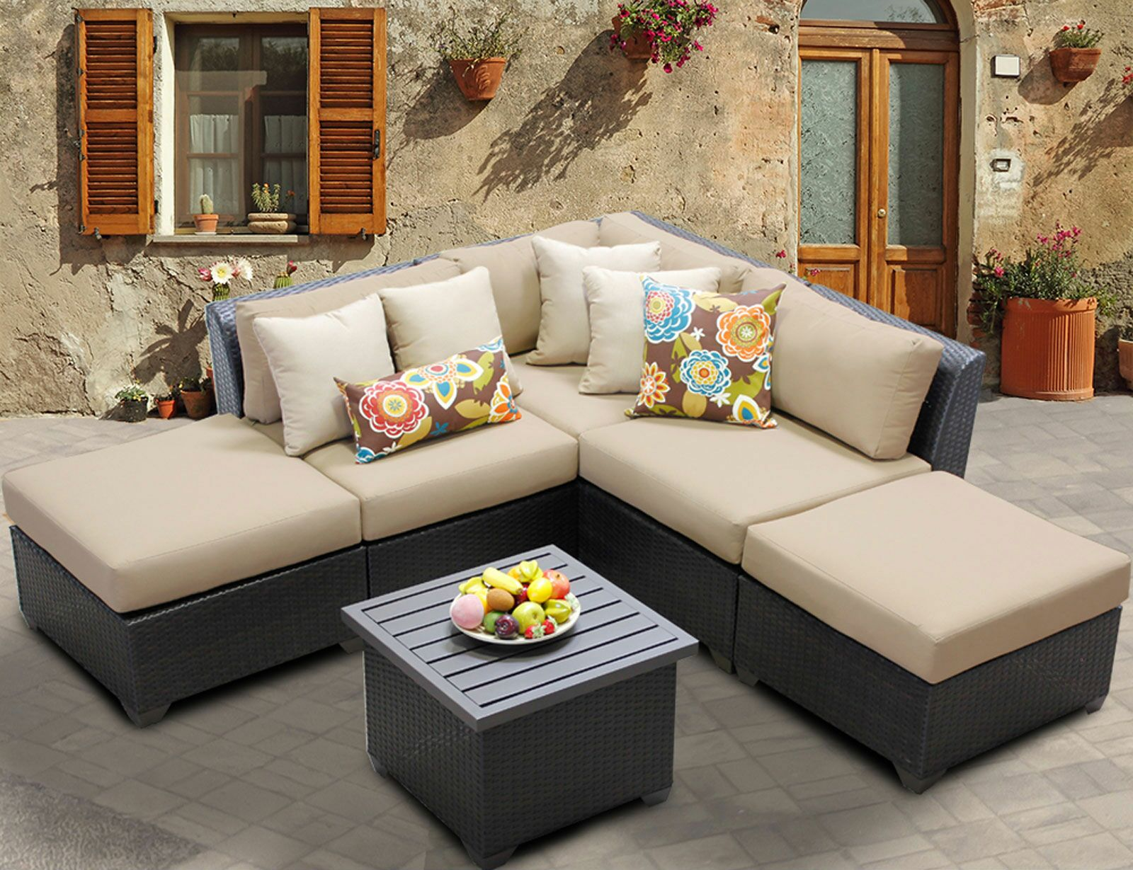 Barbados 6 Piece Rattan Sectional Set with Cushions Color: Wheat