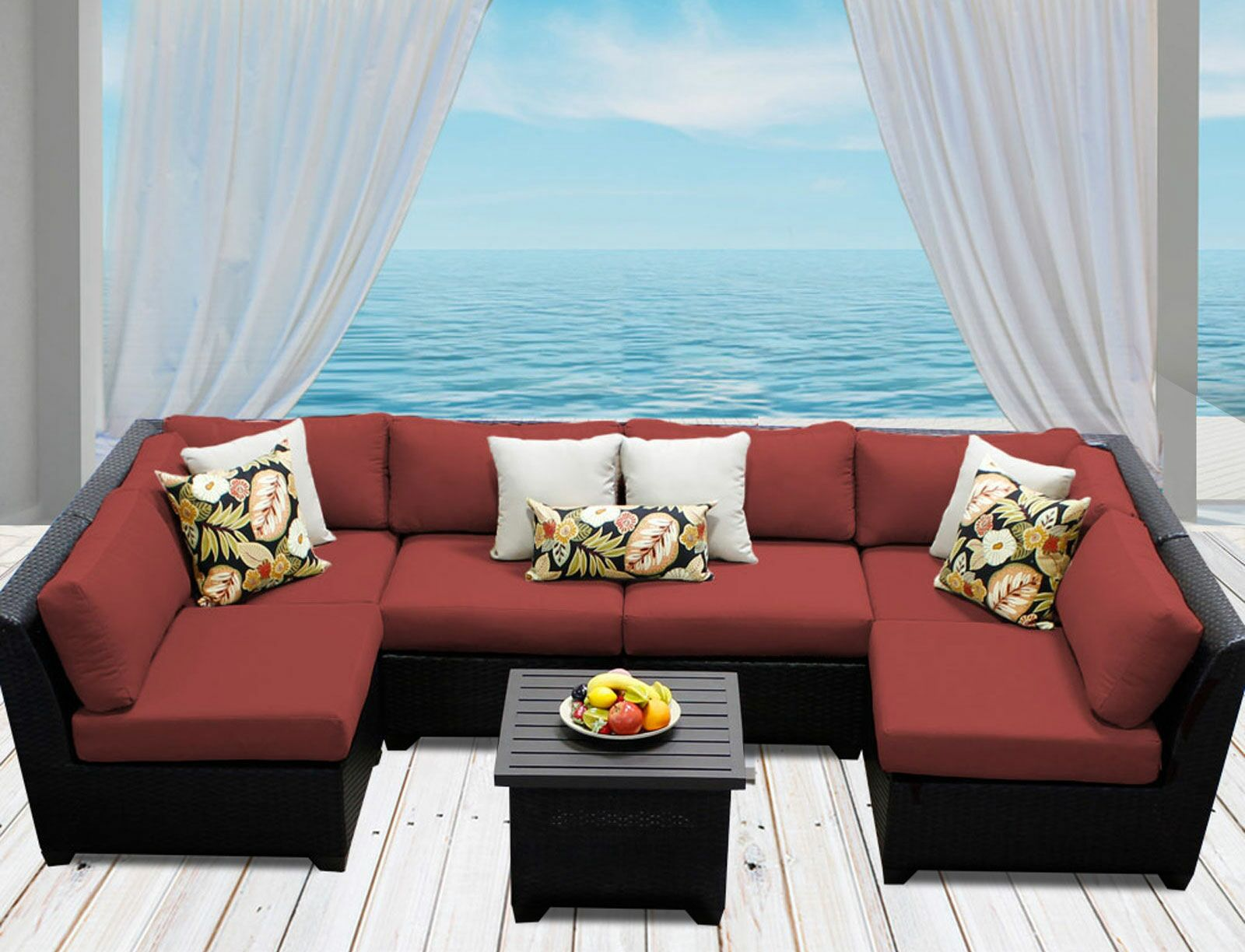 Barbados 7 Piece Sectional Set with Cushions Color: Terracotta