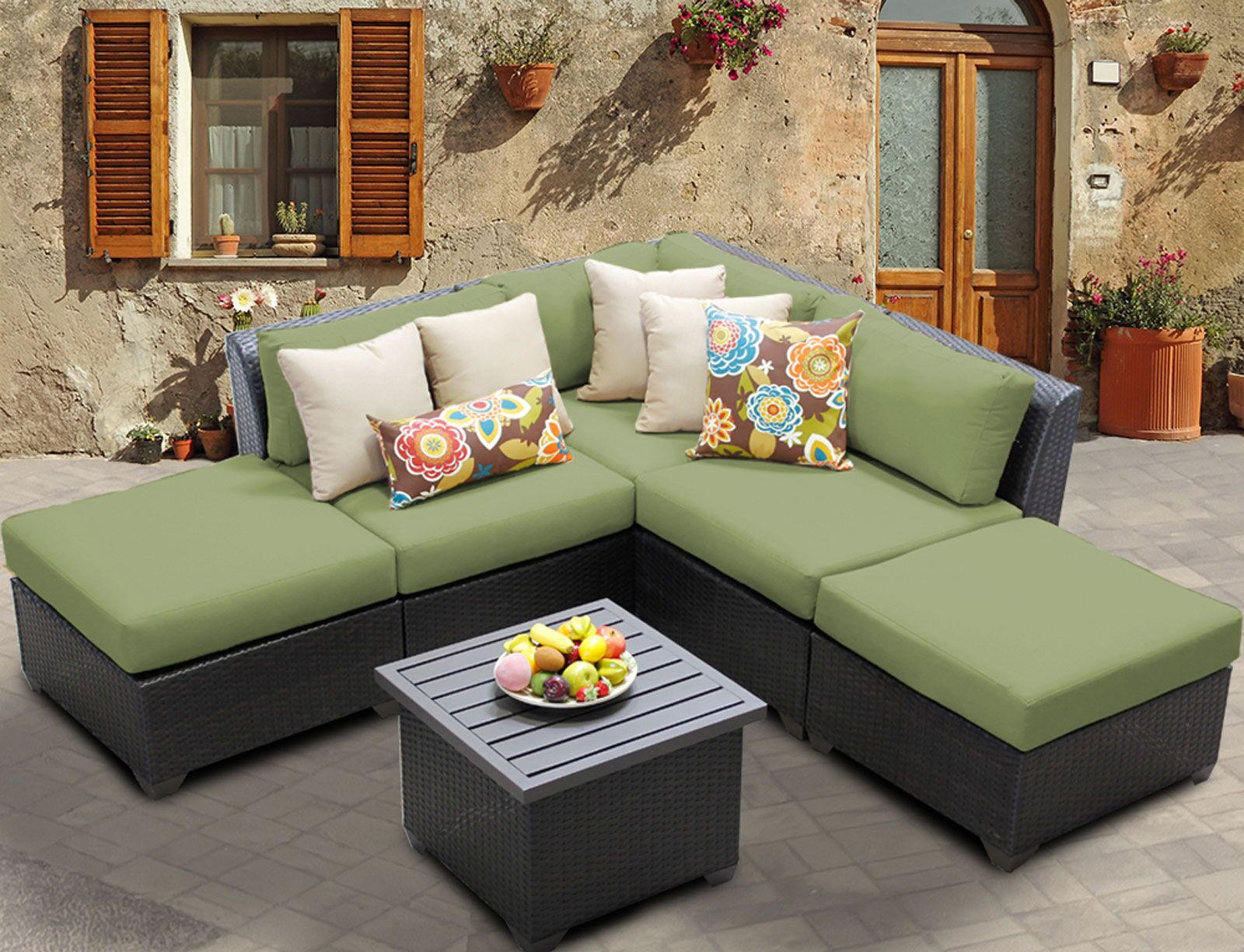 Barbados 6 Piece Rattan Sectional Set with Cushions Color: Cilantro