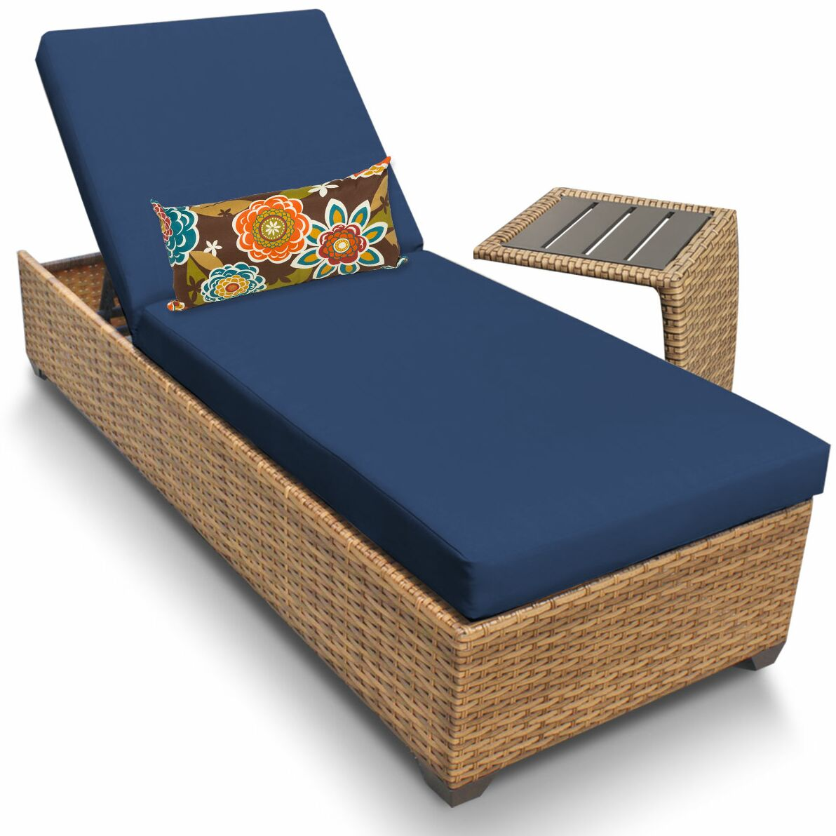 Asellus Chaise Lounge with Cushion and Table Color: Navy