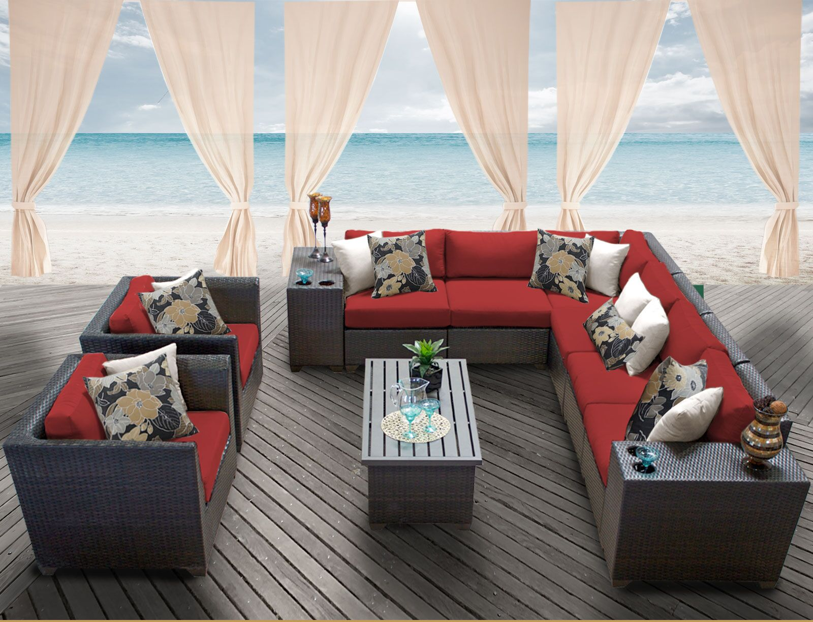 Barbados 11 Piece Rattan Sectional Set with Cushions Color: Terracotta