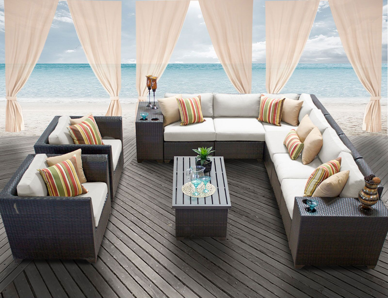 Barbados 11 Piece Rattan Sectional Set with Cushions Color: Beige