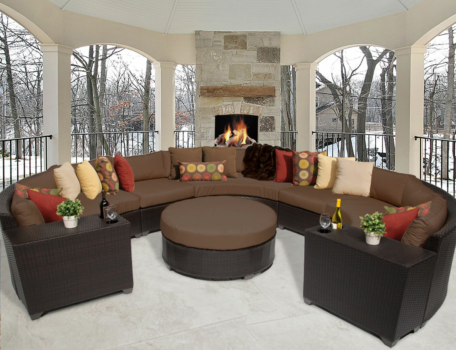 Barbados 8 Piece Rattan Sectional Set with Cushions Color: Cocoa