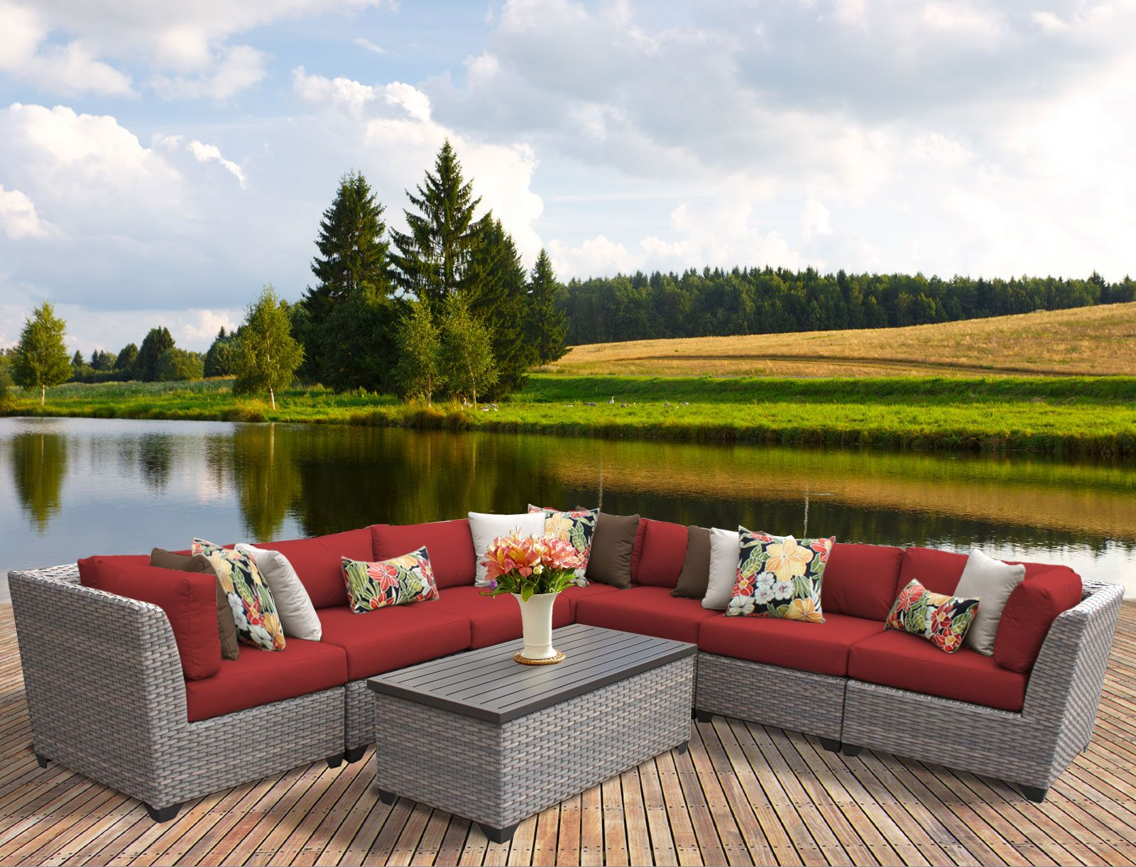Florence 8 Piece Rattan Sectional Set with Cushions Fabric: Terracotta