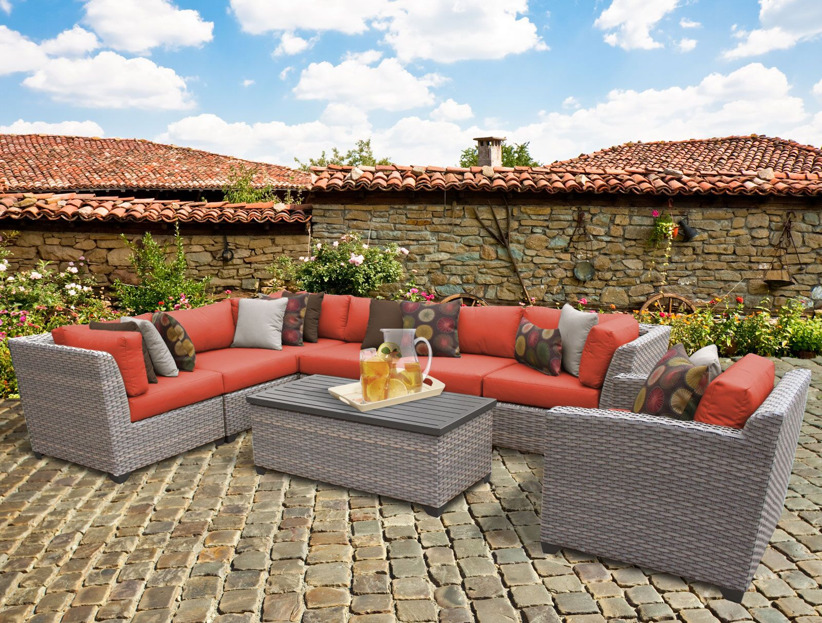 Florence 8 Piece Rattan Sectional Set with Cushions Fabric: Tangerine