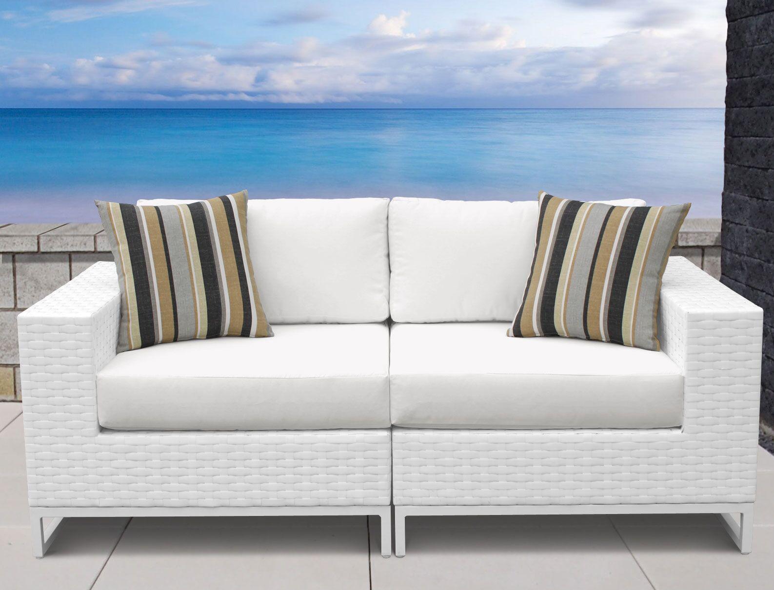 Miami 2 Piece Sofa Set with Cushions Fabric: White