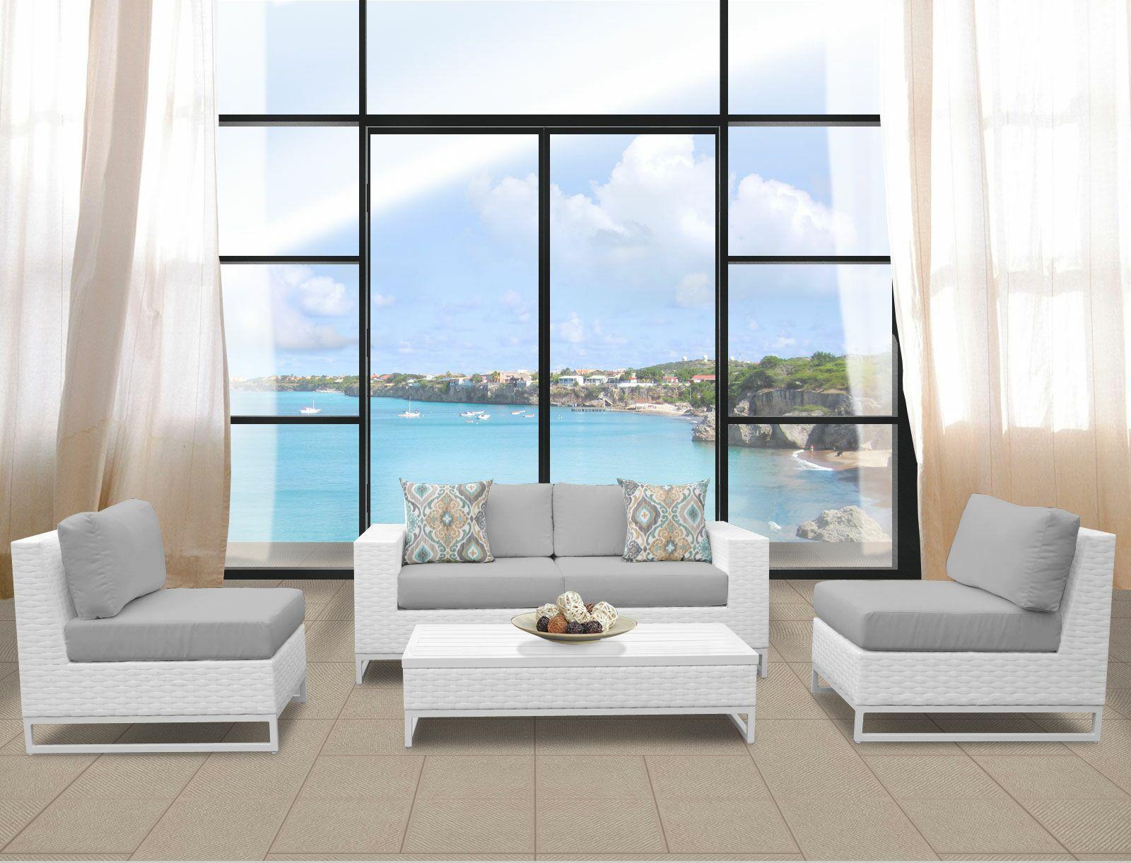 Miami 5 Piece Sofa Set with Cushions Fabric: Gray