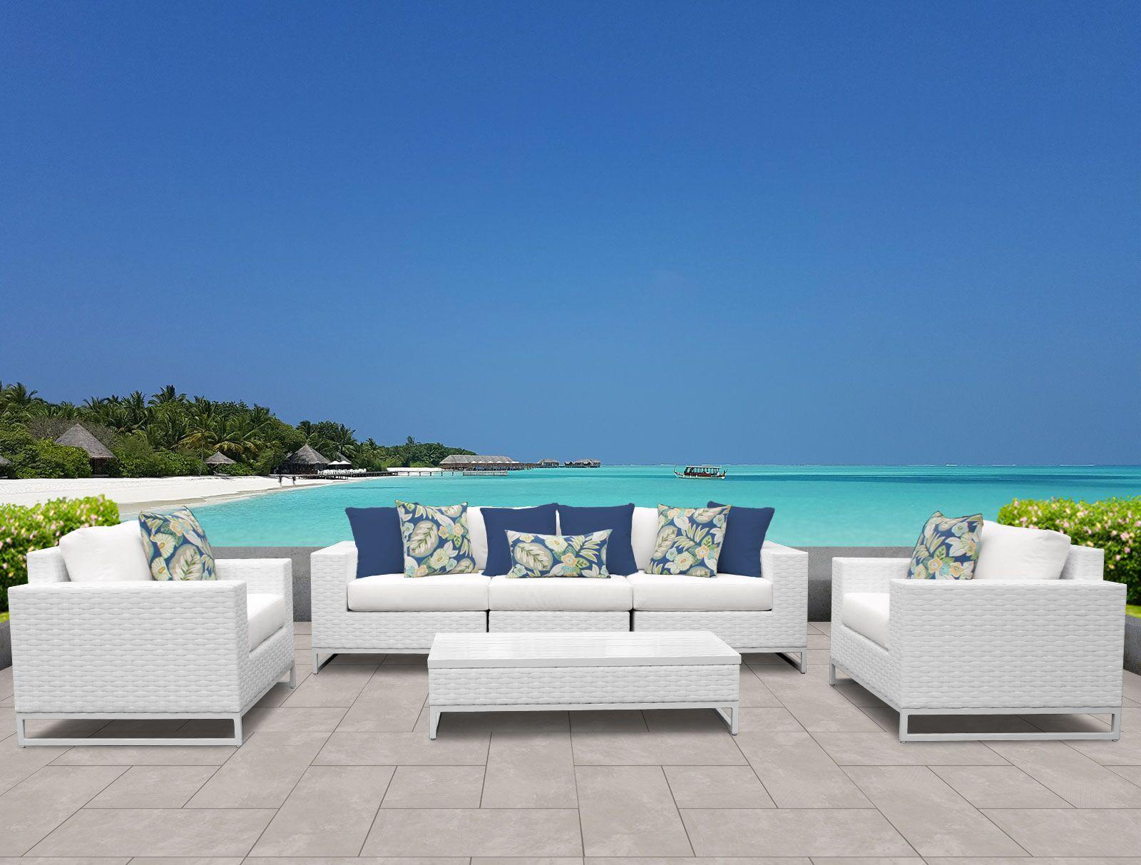 Miami 6 Piece Sofa Set with Cushions Fabric: White