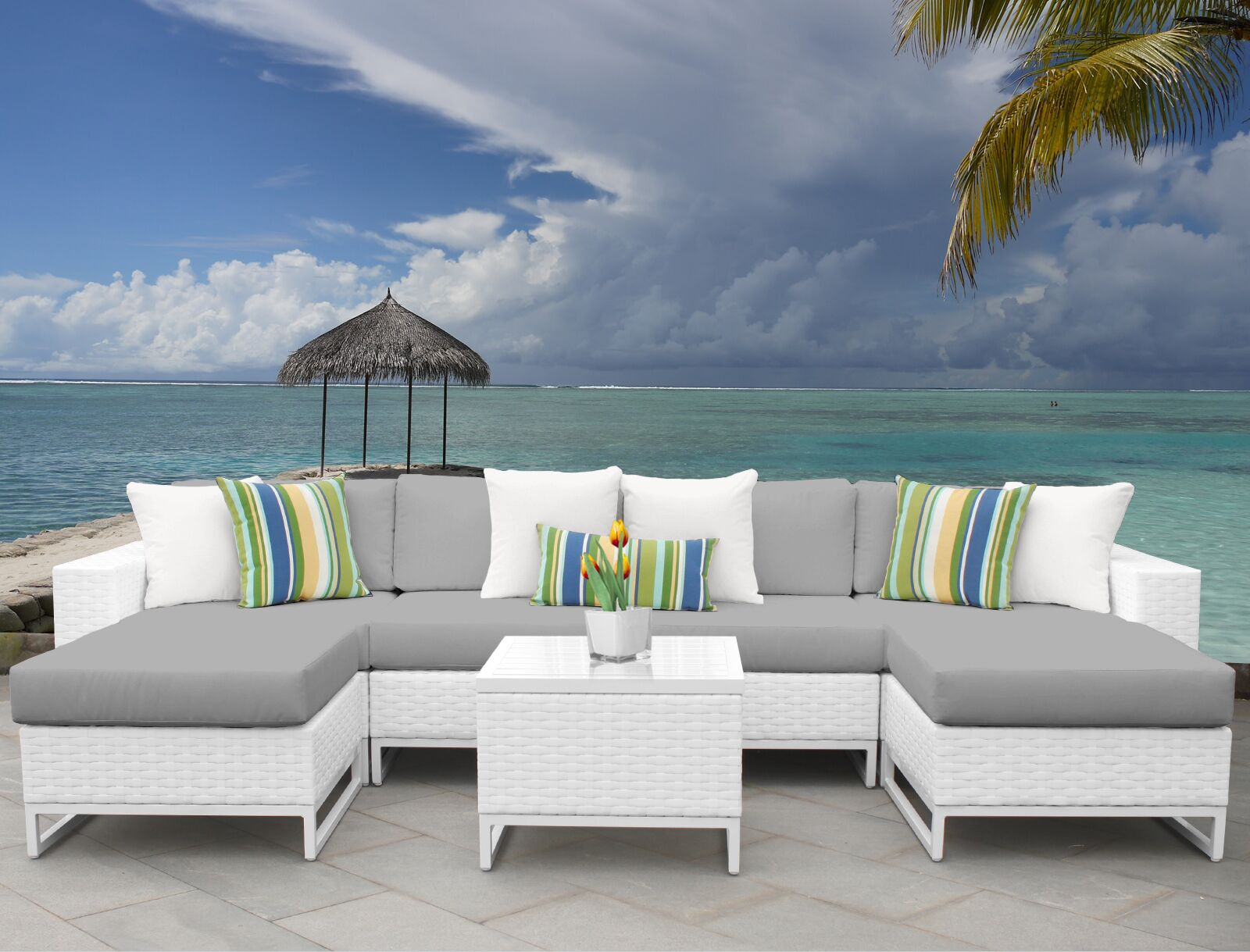 Miami 7 Piece Sectional Set with Cushions Fabric: Gray