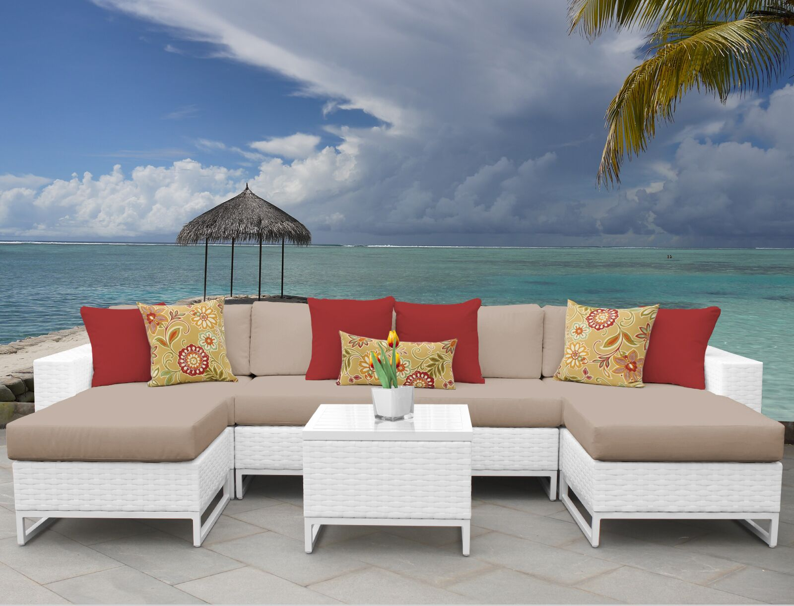 Miami 7 Piece Sectional Set with Cushions Fabric: Wheat