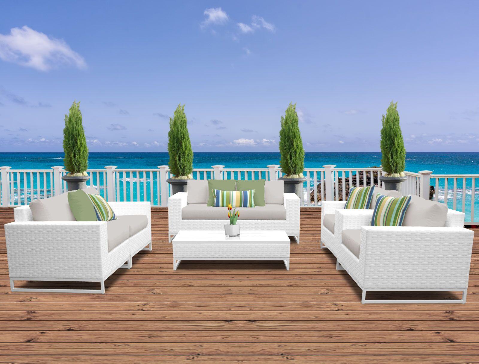 Miami 7 Piece Sofa Set with Cushions Fabric: Beige
