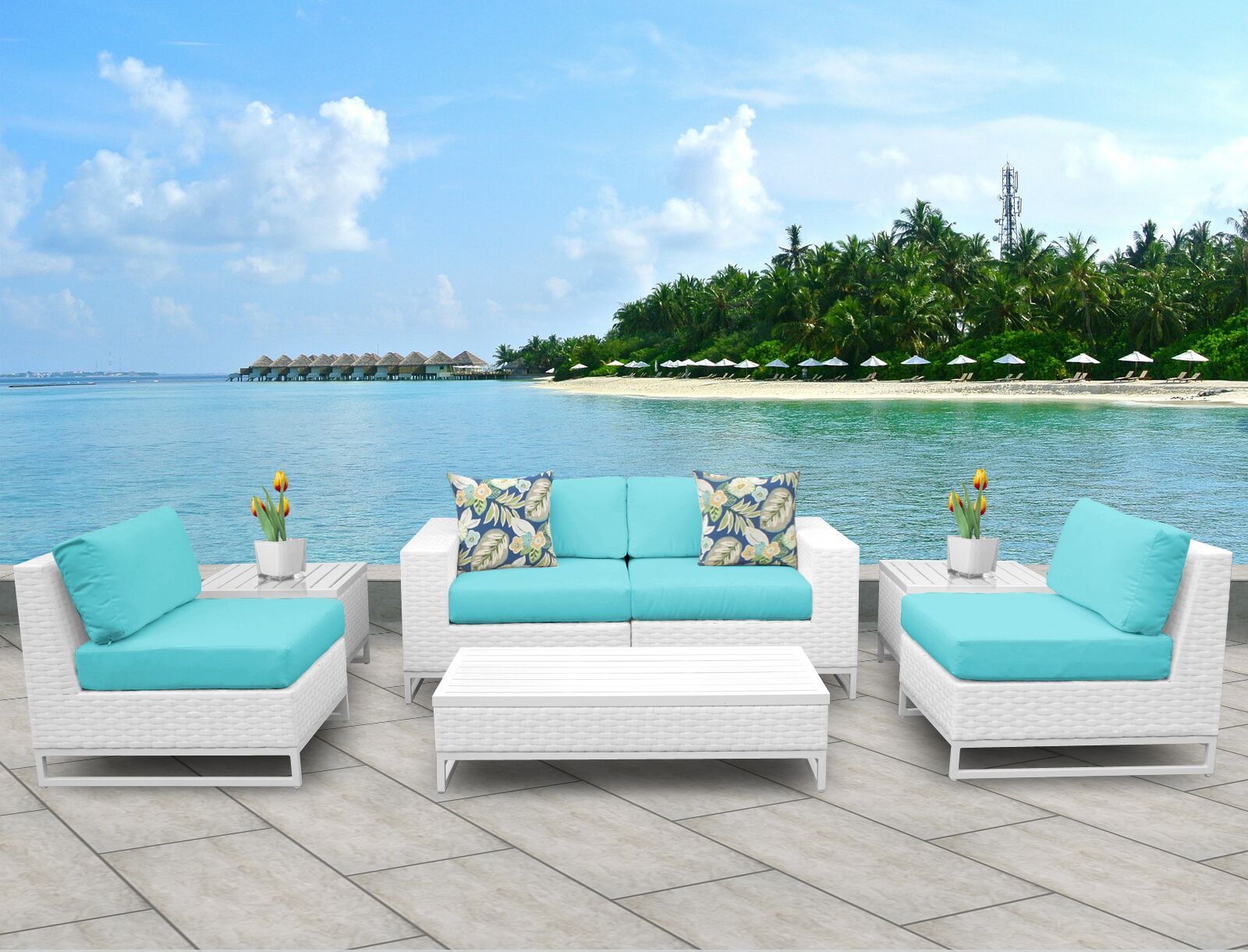 Miami 7 Piece Sofa Set with Cushions Fabric: Aruba