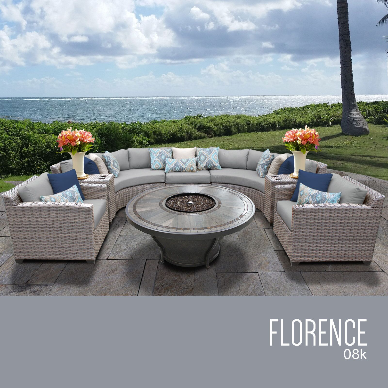 Florence 8 Piece Rattan Sectional Set with Cushions Cushion Color: Gray