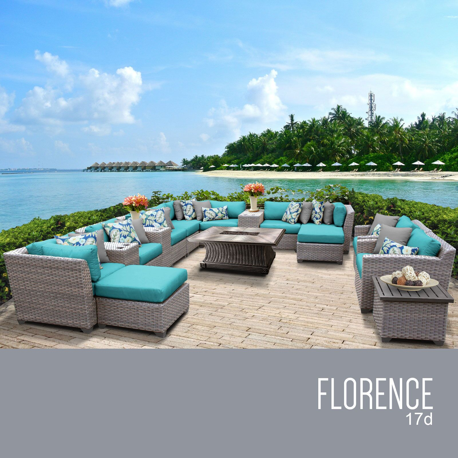 Florence 17 Piece Rattan Sectional Set with Cushions Cushion Color: Aruba