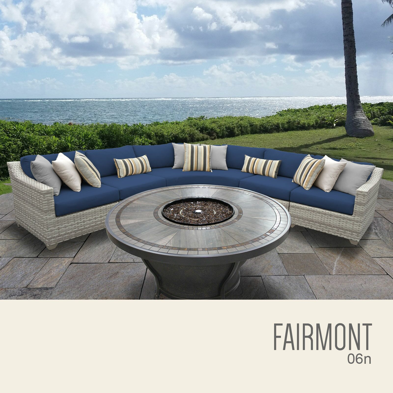 Ansonia 6 Piece Sectional Set with Cushions Cushion Color: Navy