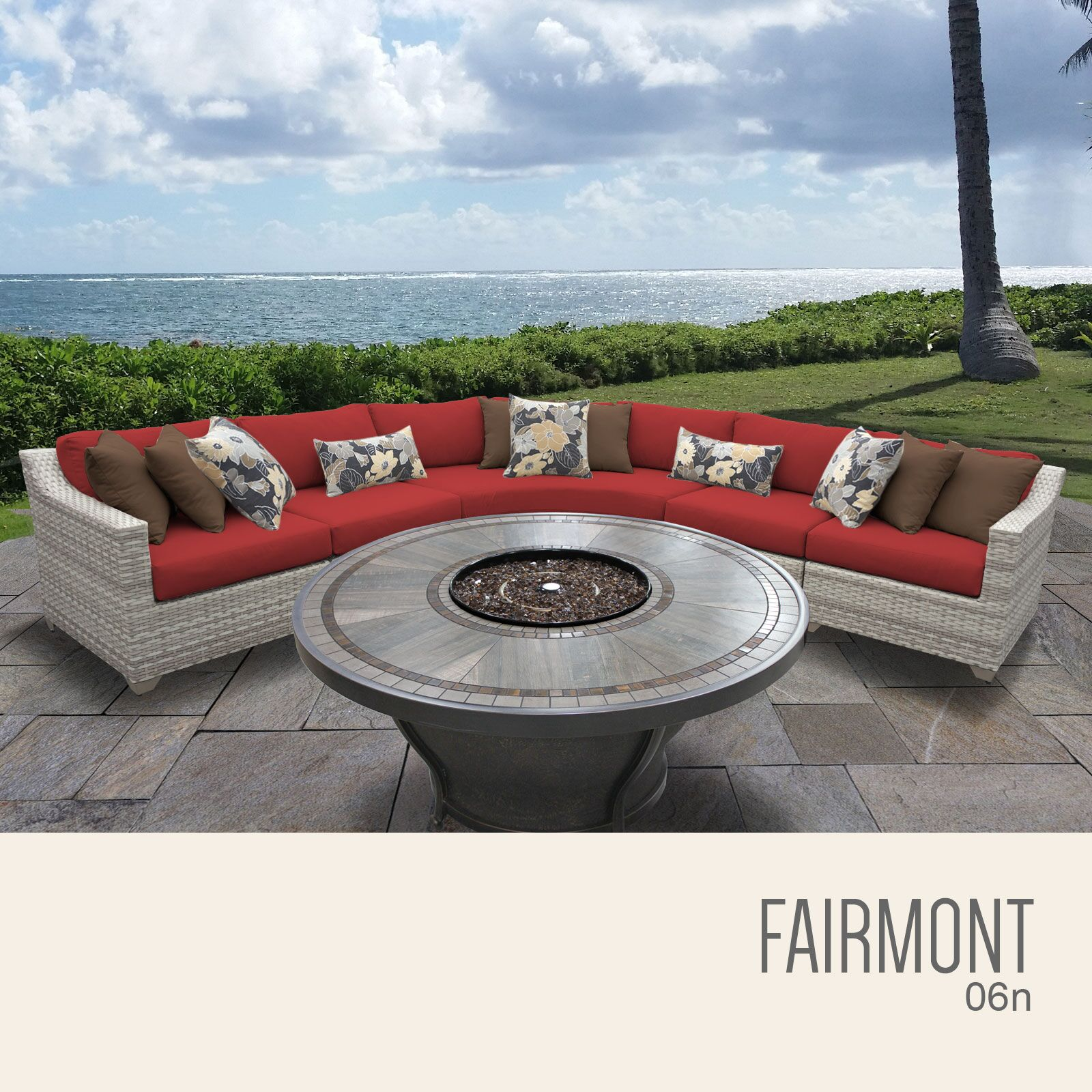 Ansonia 6 Piece Sectional Set with Cushions Cushion Color: Terracotta
