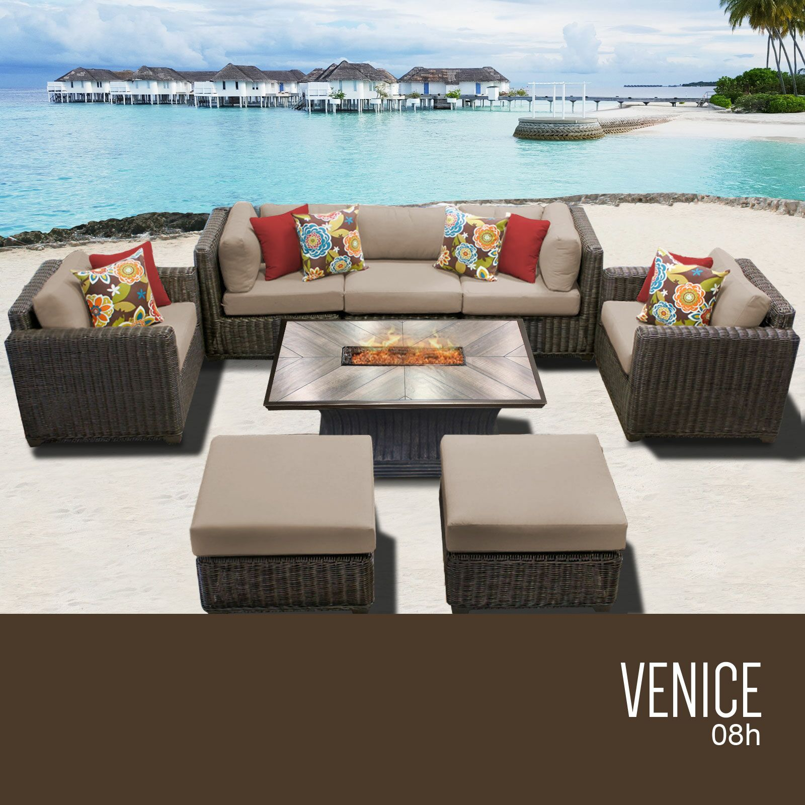 Eldredge 8 Piece Sectional Set with Cushions Cushion Color: Wheat