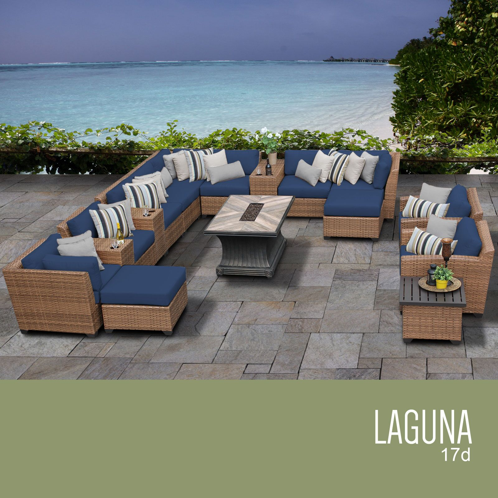 East Village 17 Piece Rattan Sectional Set Cushion Color: Navy