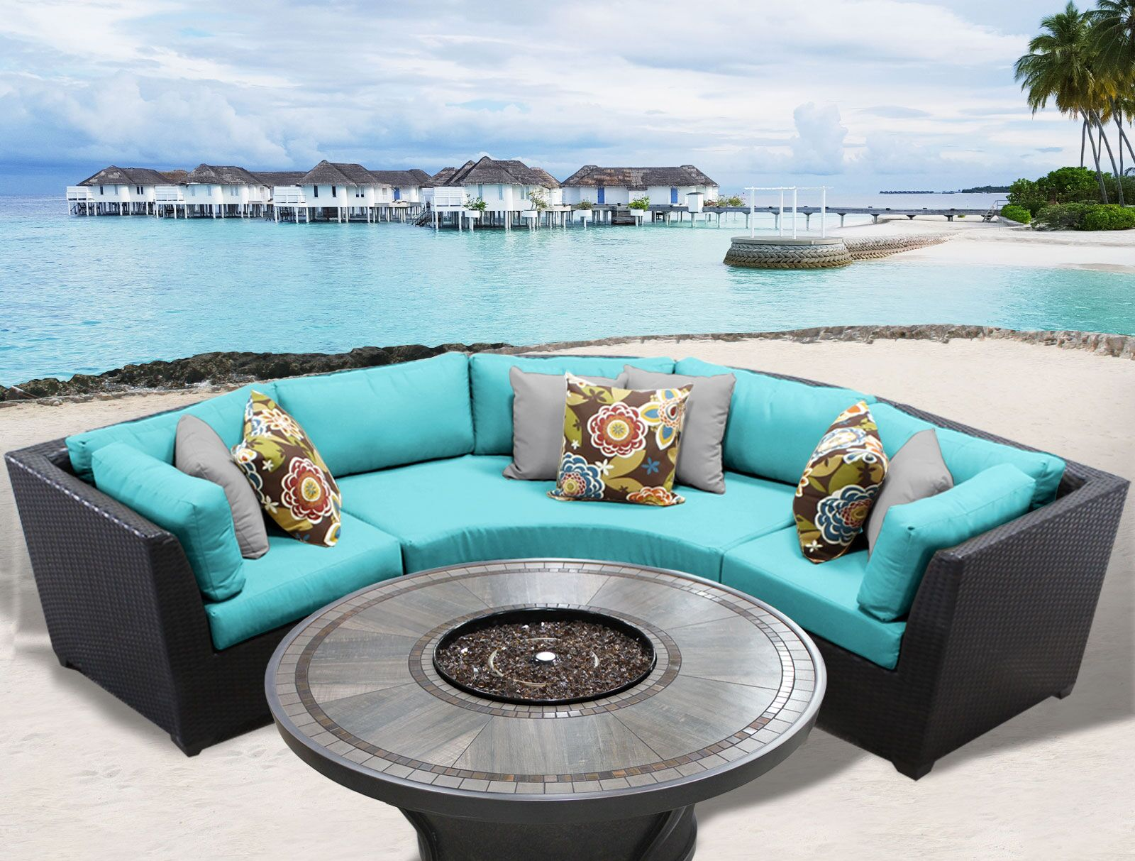 Barbados 4 Piece Rattan Sectional Set with Cushions Cushion Color: Aruba