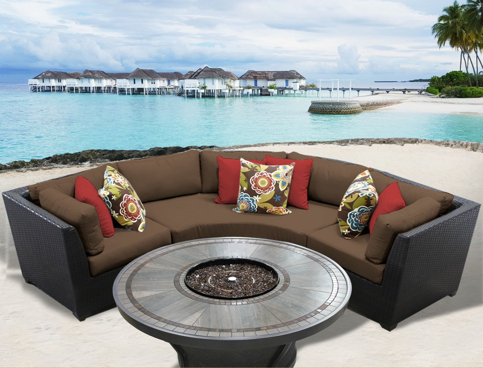 Barbados 4 Piece Rattan Sectional Set with Cushions Cushion Color: Cocoa