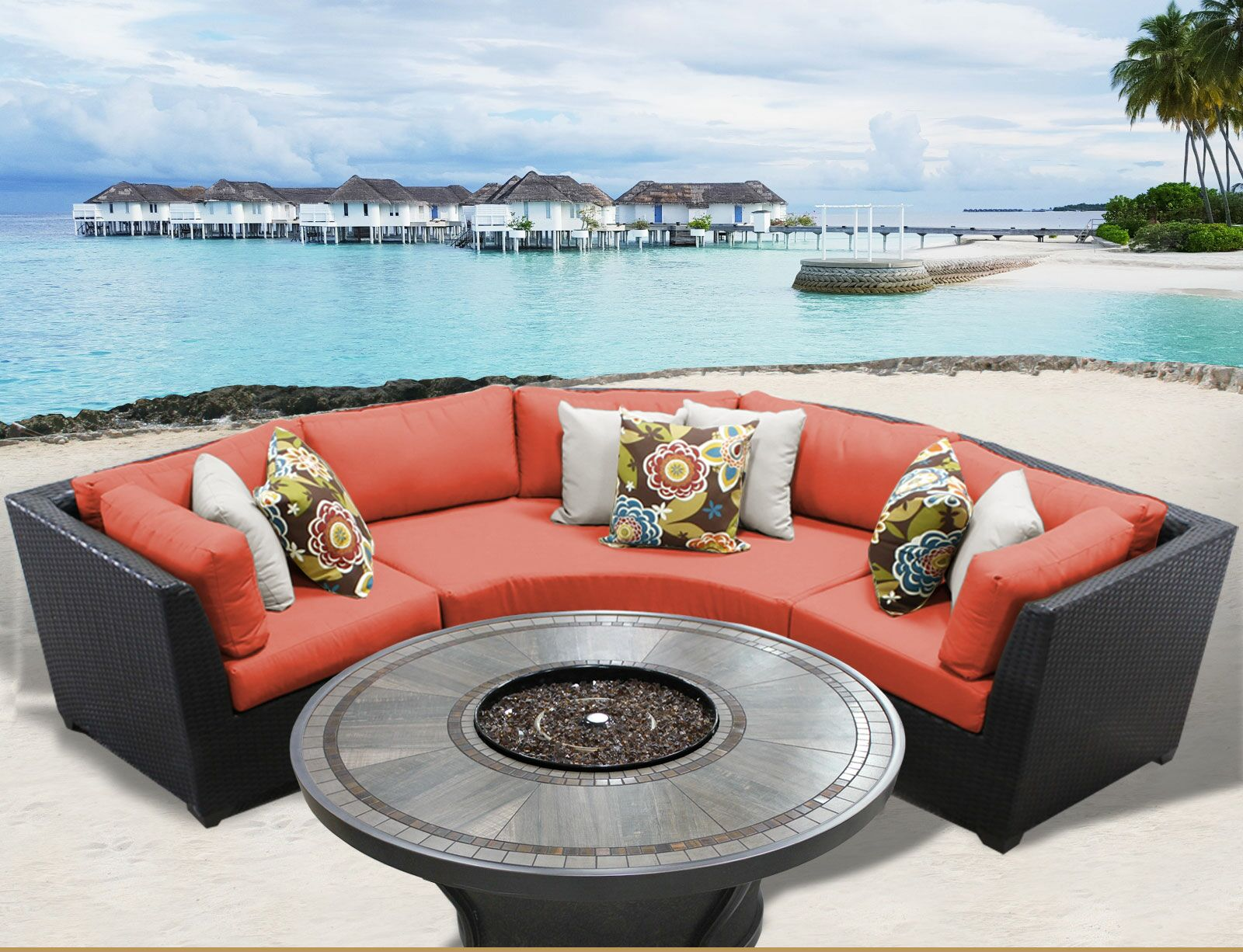 Barbados 4 Piece Rattan Sectional Set with Cushions Cushion Color: Tangerine