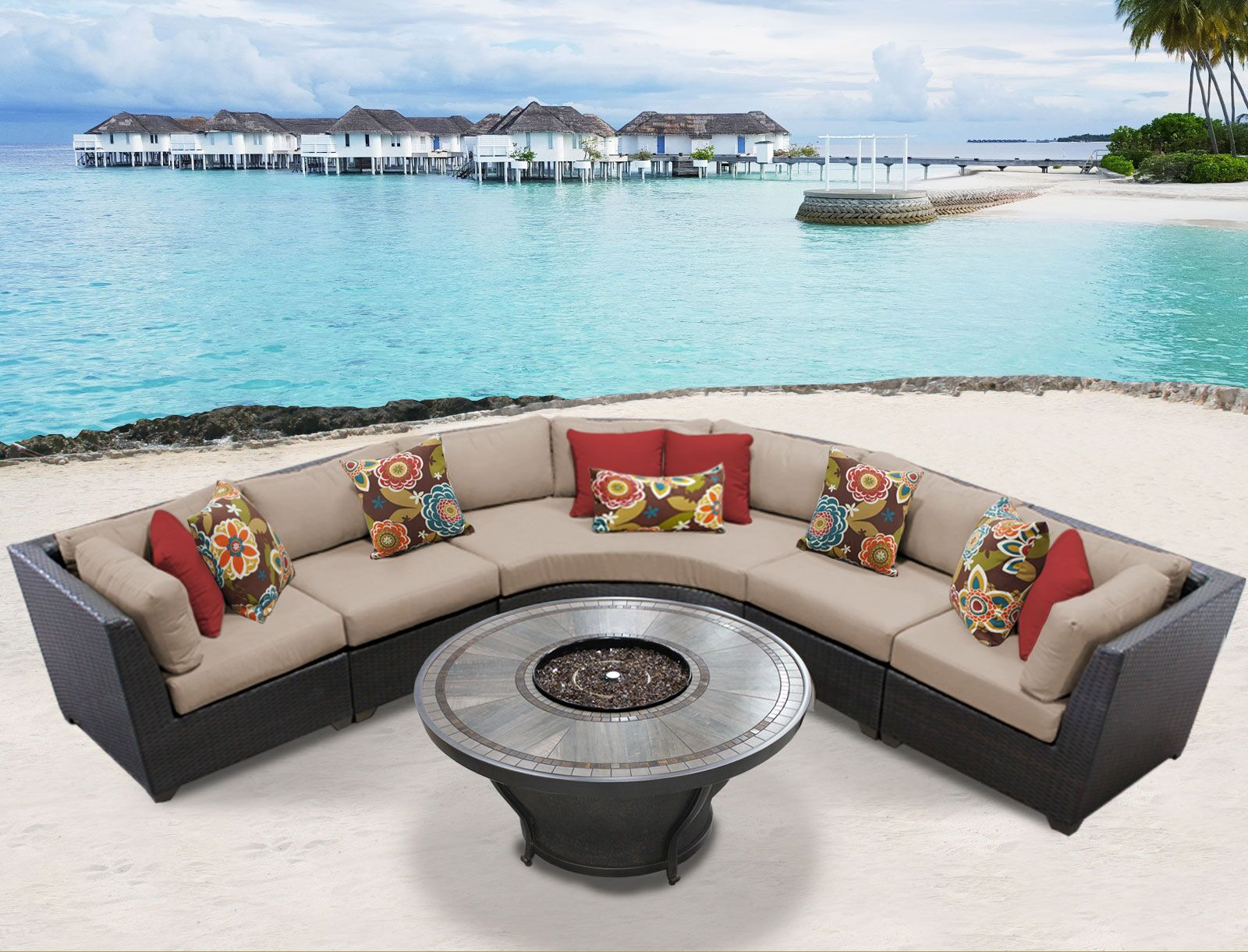 Barbados 6 Piece Sectional Set with Cushions Cushion Color: Wheat