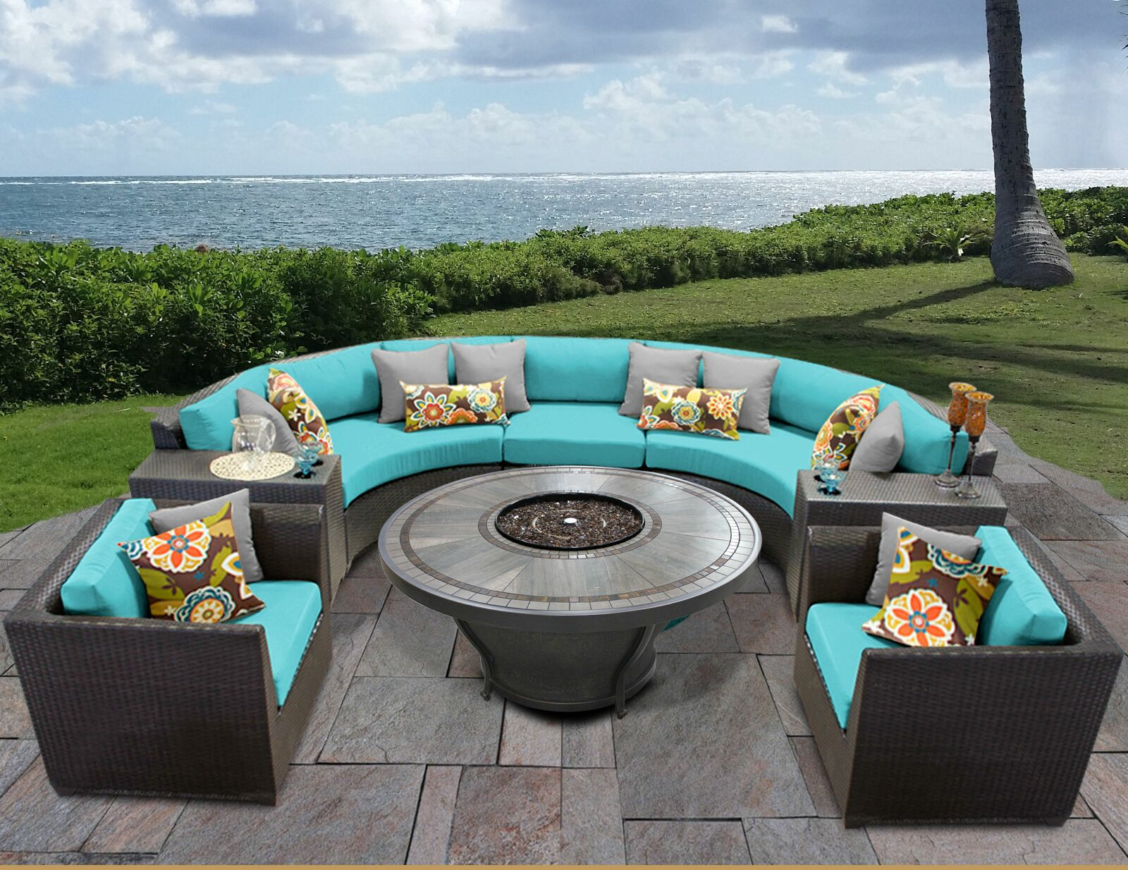 Barbados 8 Piece Sectional Set with Cushions Cushion Color: Aruba