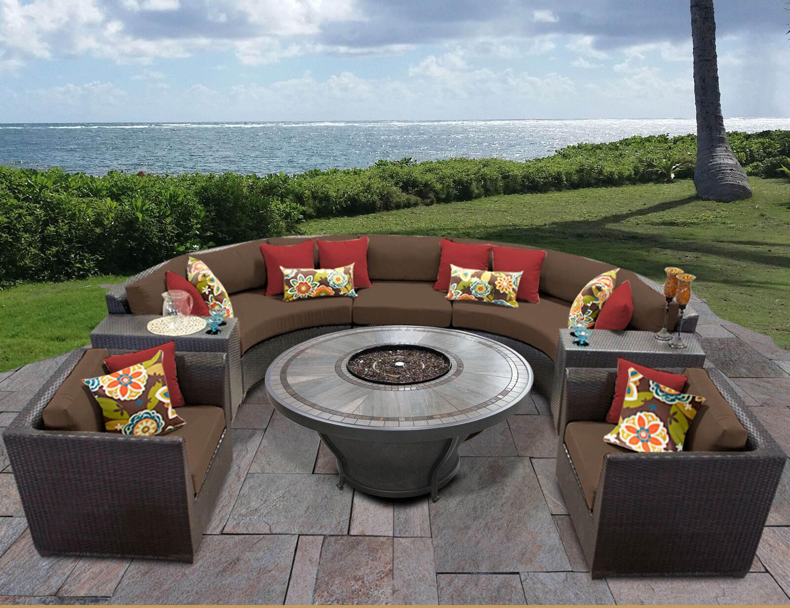 Barbados 8 Piece Sectional Set with Cushions Cushion Color: Cocoa