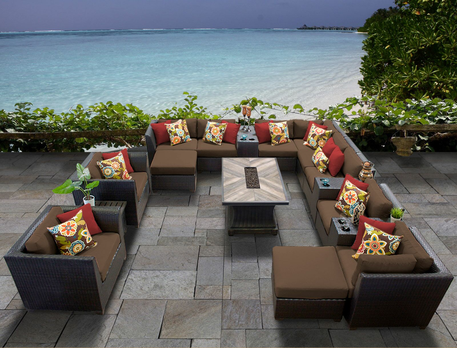 Barbados 17 Piece Sectional Set with Cushions Cushion Color: Cocoa
