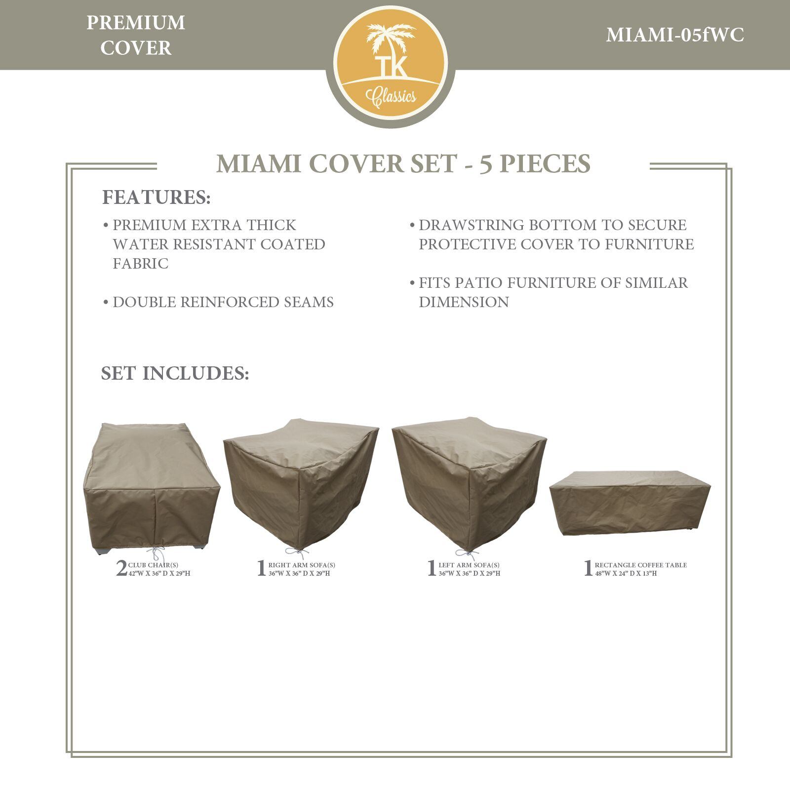 Miami 5 Piece Chair/Sofa/Table Cover Set