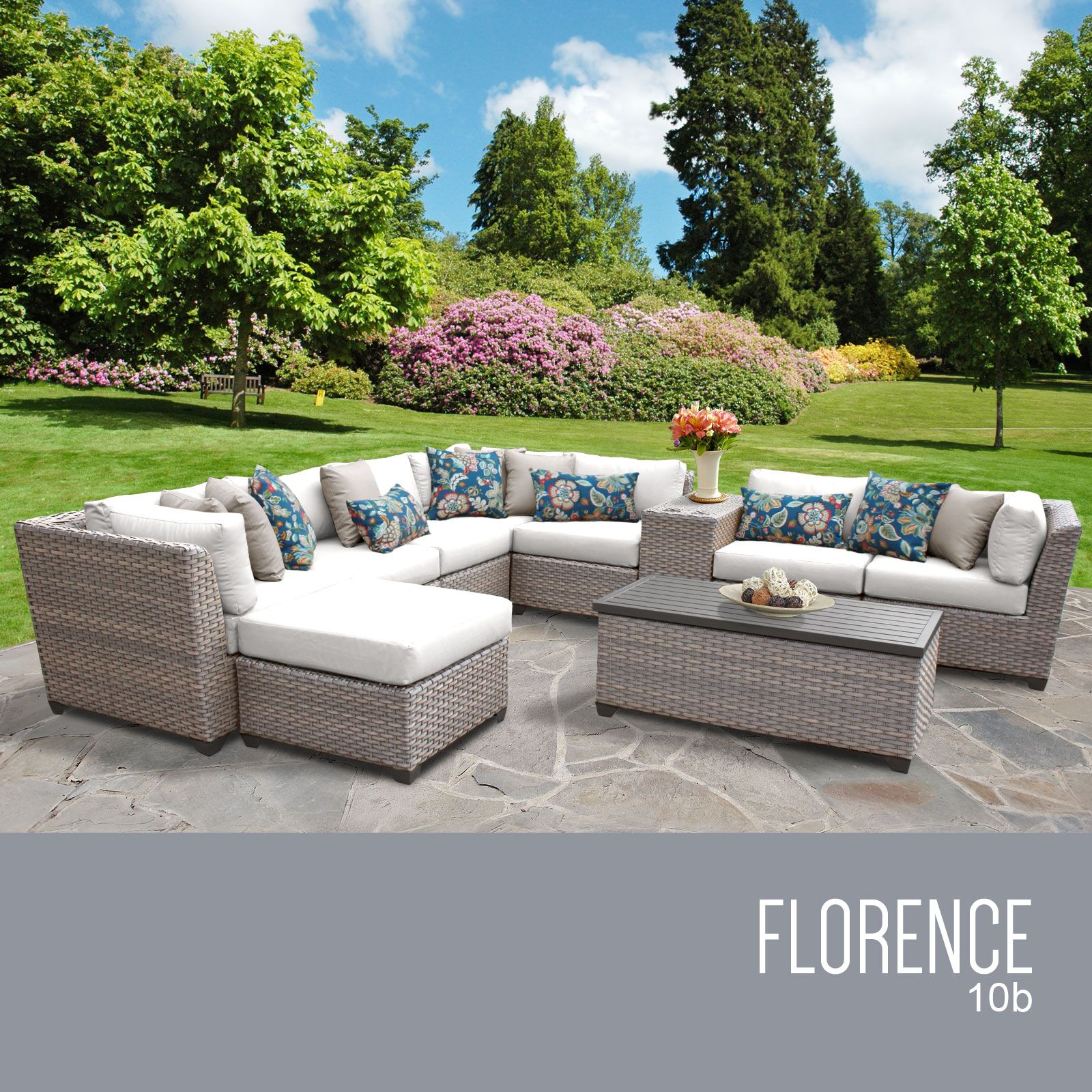 Florence 10 Piece Sectional Set with Cushions Fabric: White