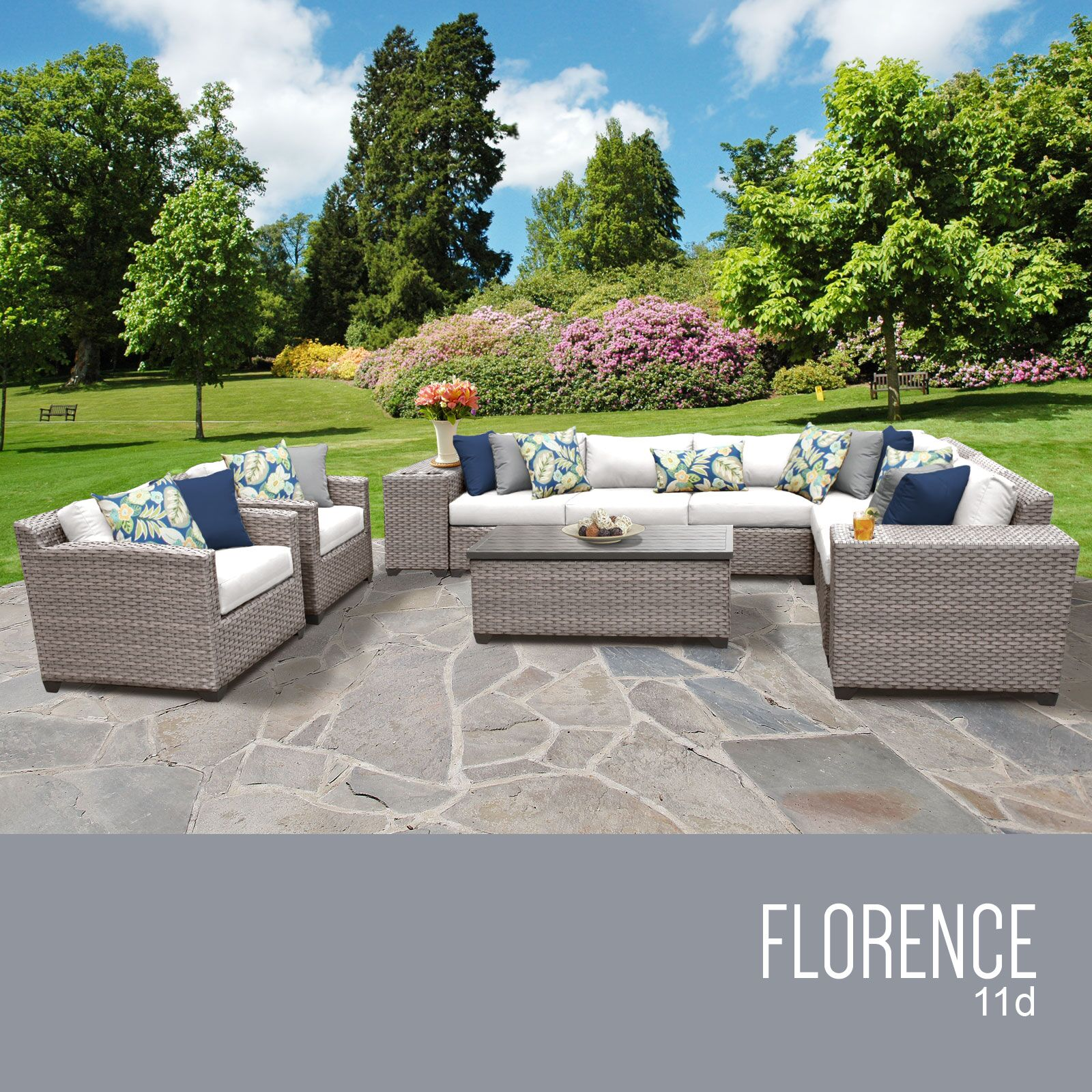 Florence 11 Piece Sectional Set with Cushions Fabric: White