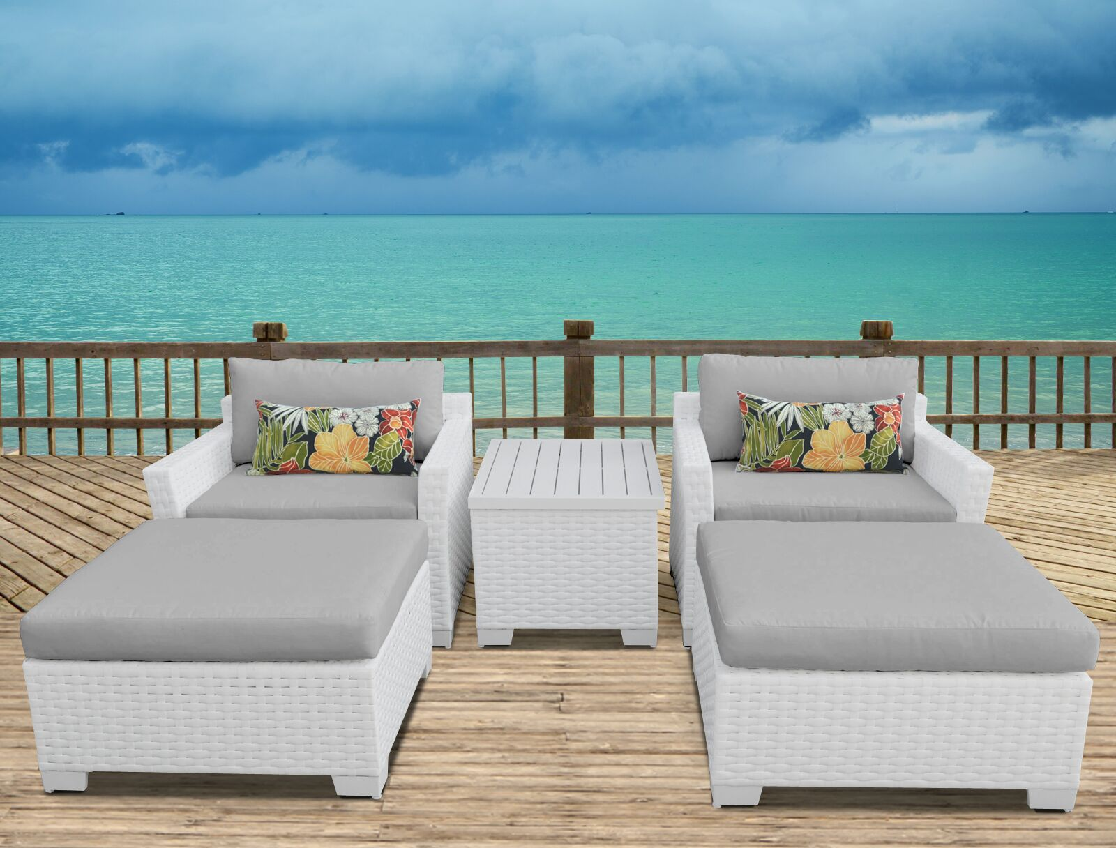 Monaco 5 Piece Conversation Set with Cushions Cushion Color (Fabric): Gray