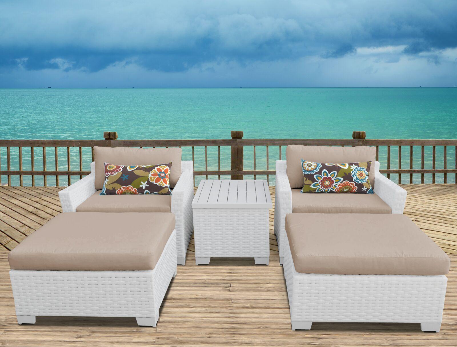 Monaco 5 Piece Conversation Set with Cushions Cushion Color (Fabric): Wheat