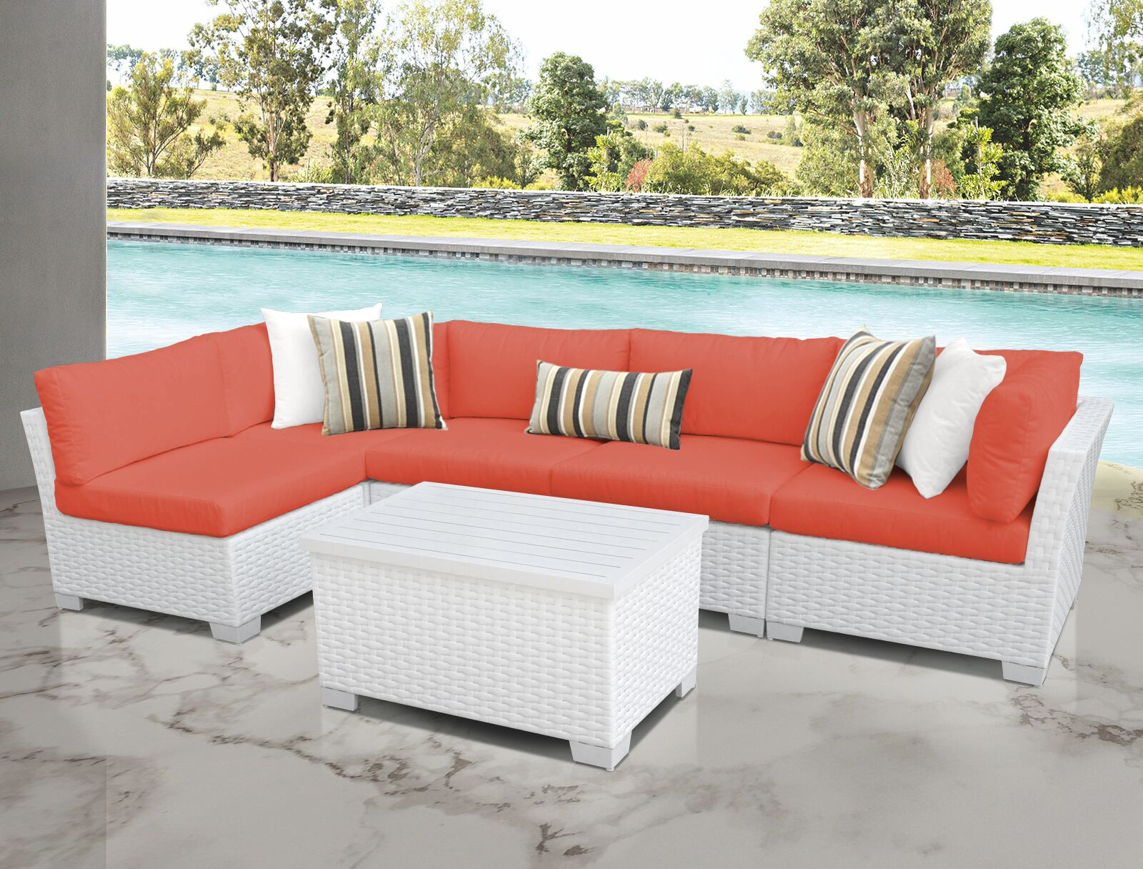 Monaco 6 Piece Sectional Set with Cushions Cushion Color (Fabric): Tangerine