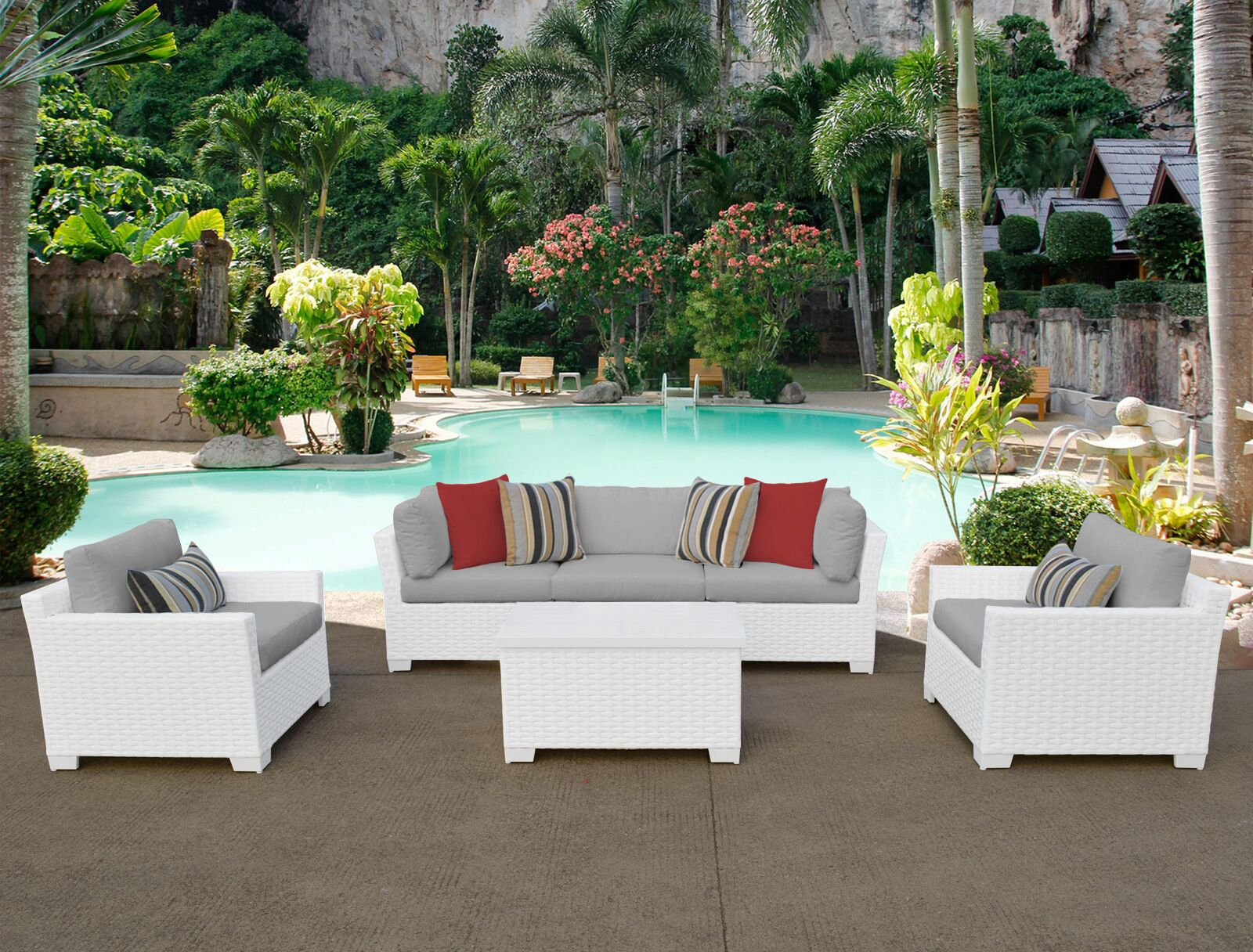 Monaco 6 Piece Sectional Set with Cushions Cushion Color (Fabric): Gray