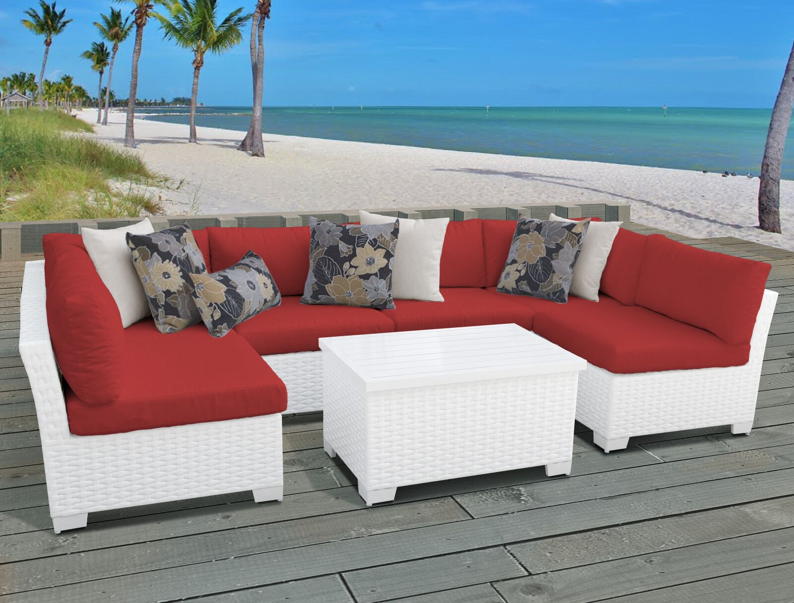 Monaco 7 Piece Sectional Set with Cushions Cushion Color (Fabric): Terracotta