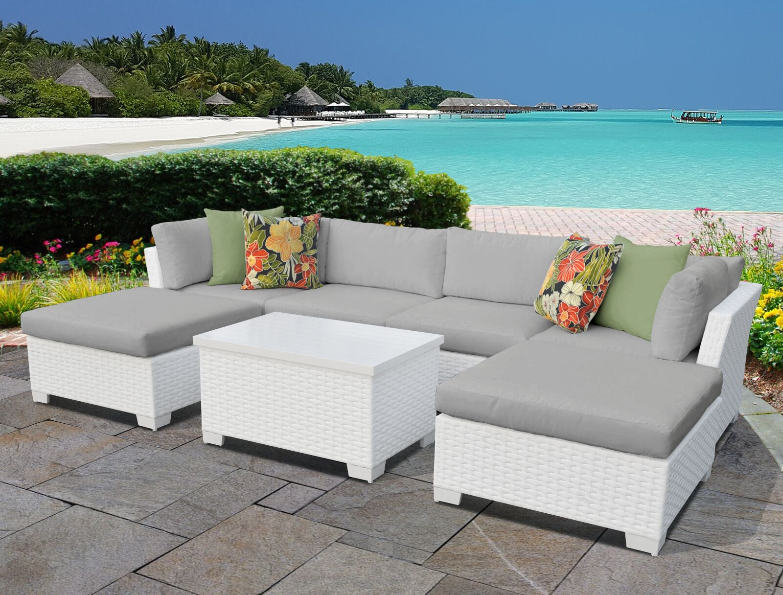 Monaco 7 Piece Sectional Set with Cushions Cushion Color (Fabric): Gray