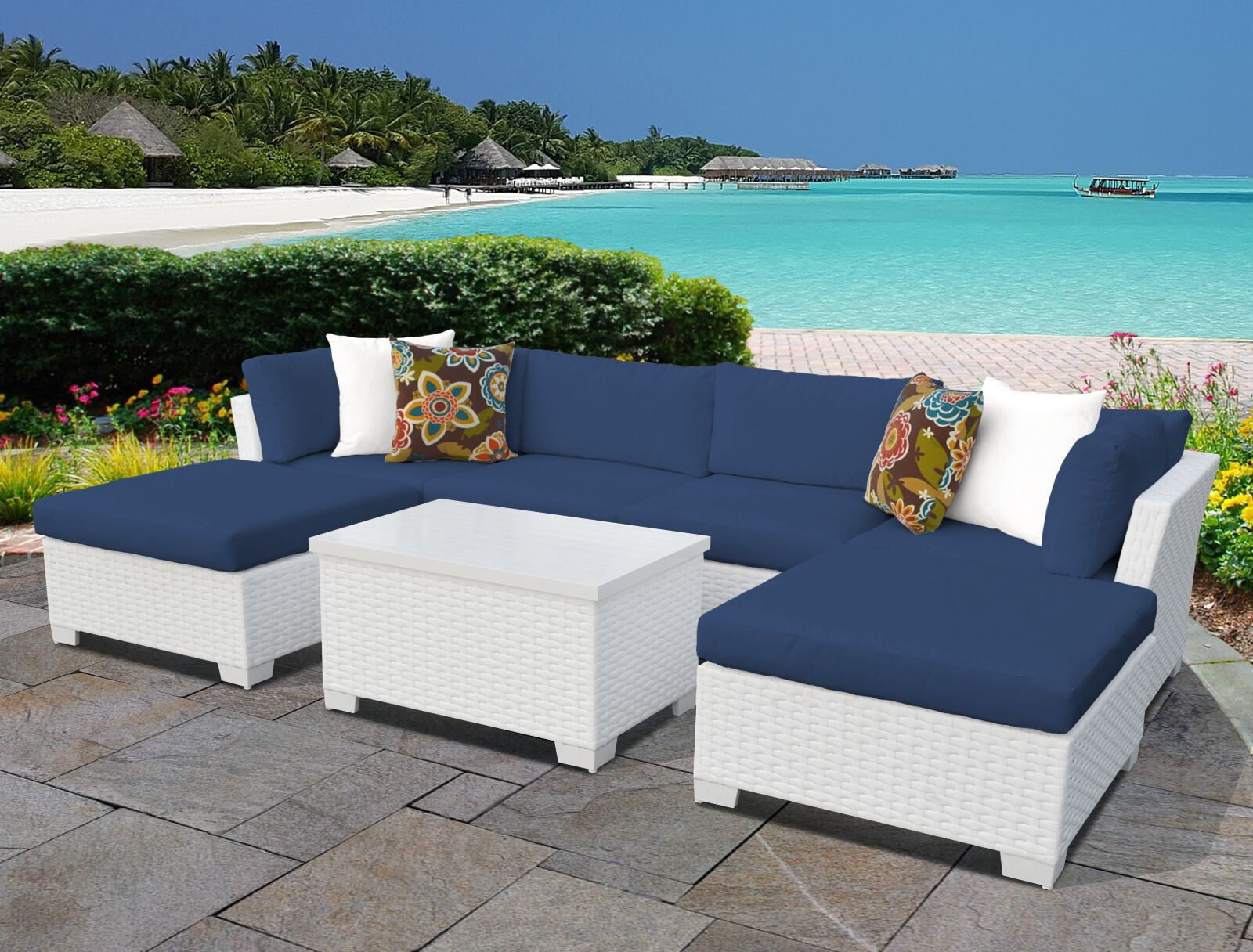 Monaco 7 Piece Sectional Set with Cushions Cushion Color (Fabric): Navy
