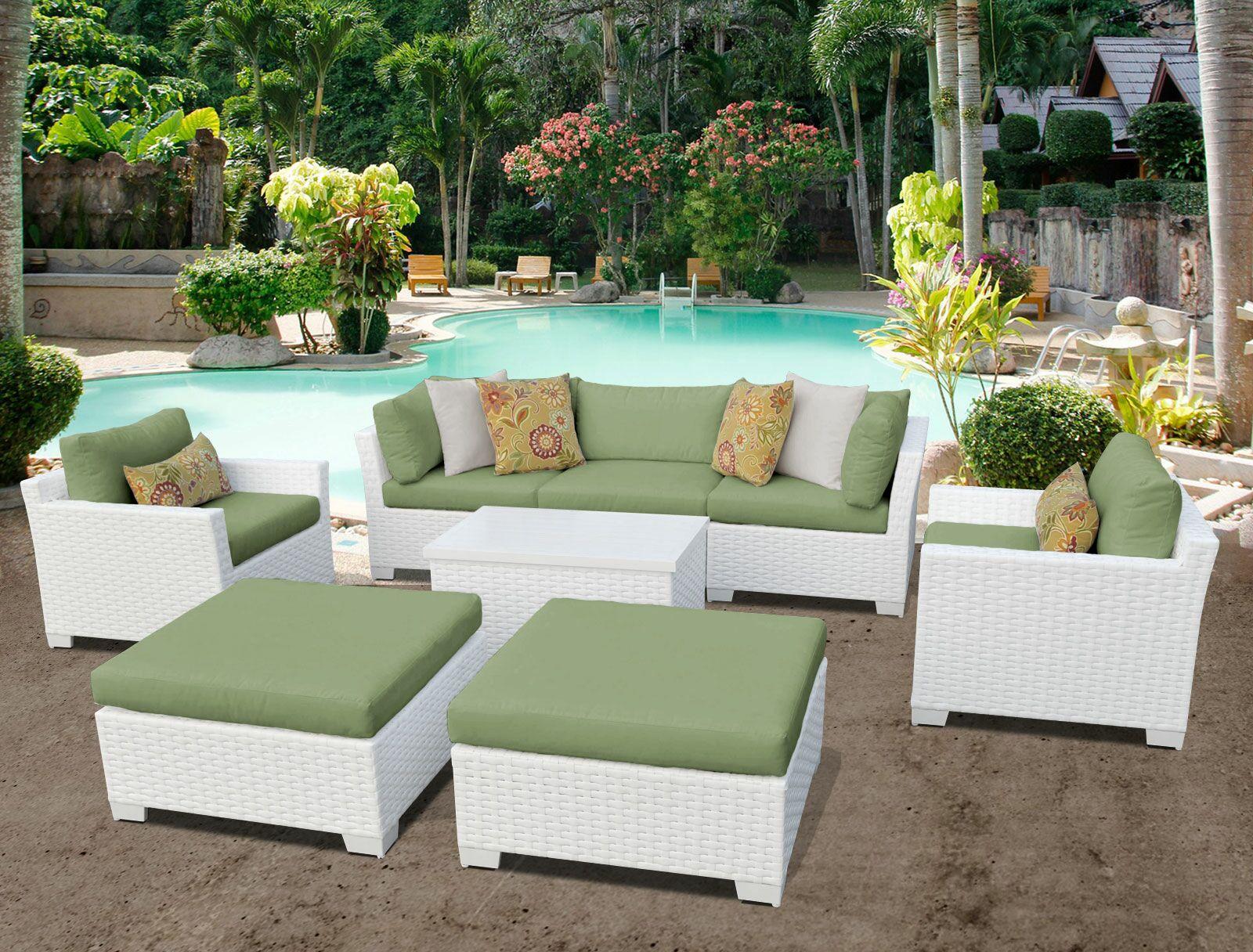 Monaco 8 Piece Sofa Set with Cushions Cushion Color (Fabric): Cilantro